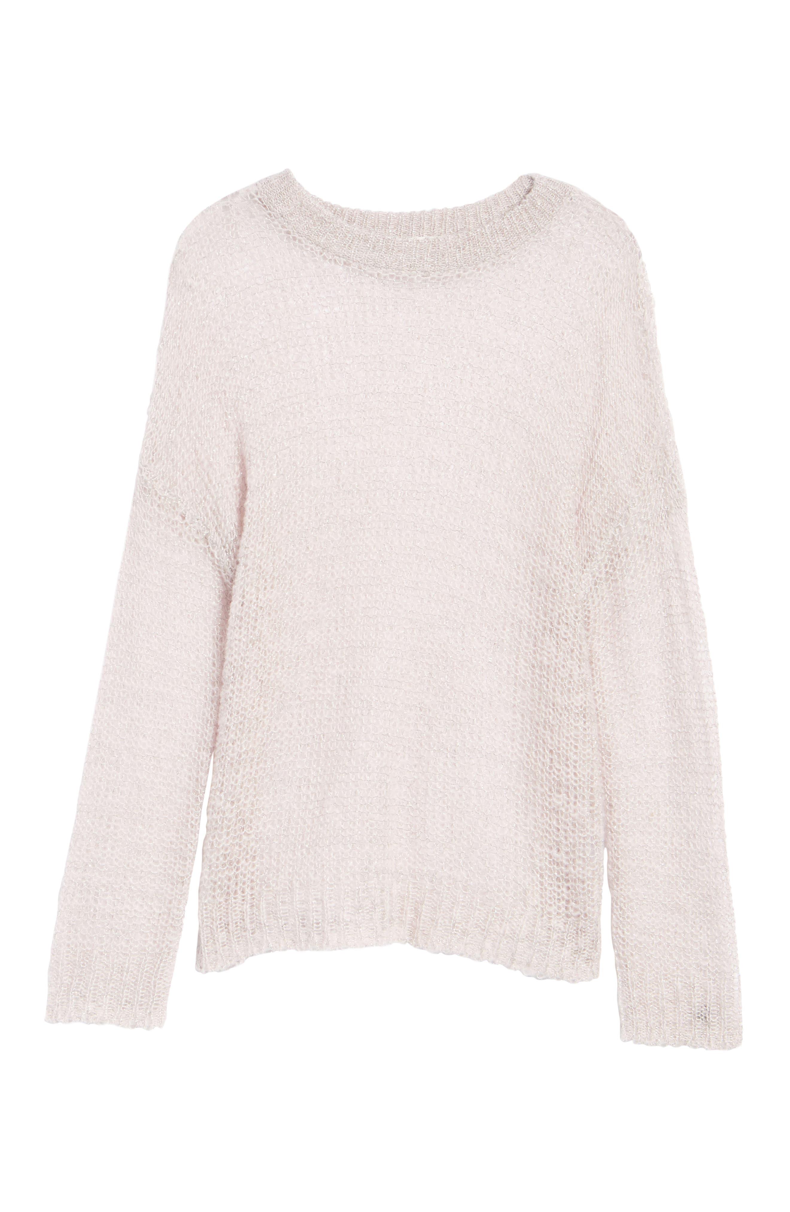 x Something Navy Sheer Metallic Sweater,                             Alternate thumbnail 6, color,                             Pink Parfait Combo