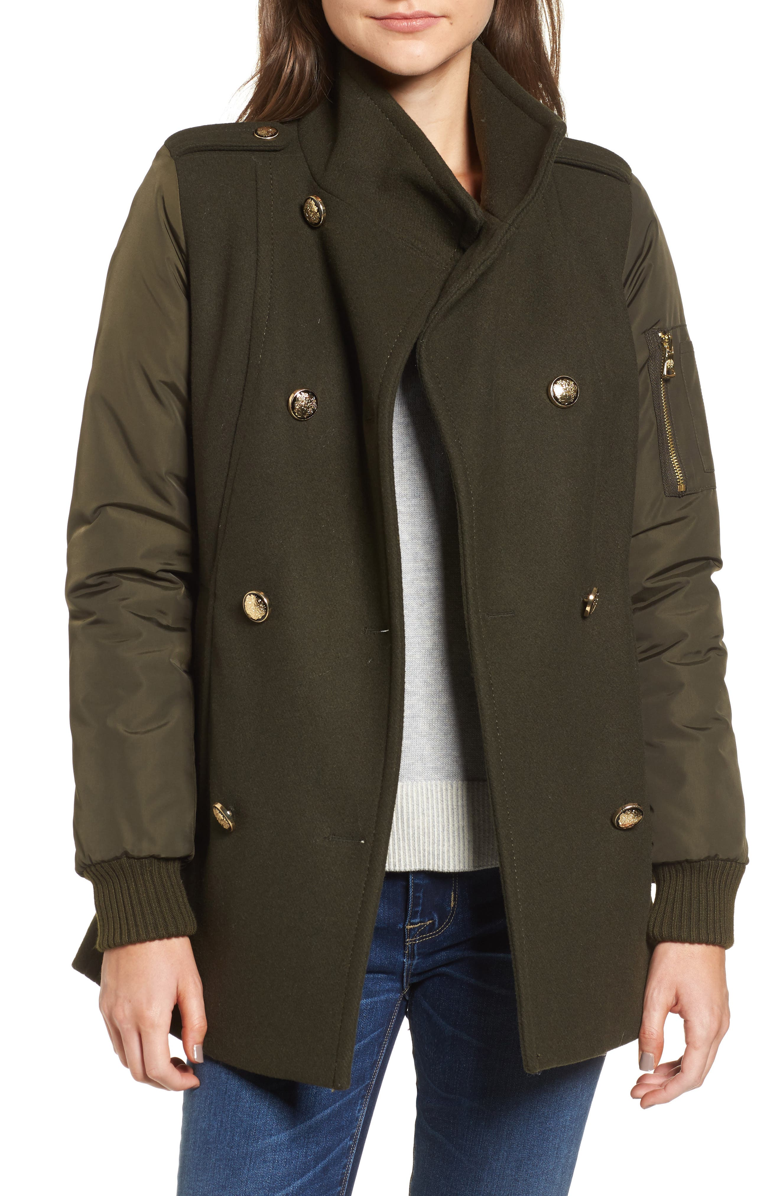 Double Breasted Jacket,                         Main,                         color, Olive