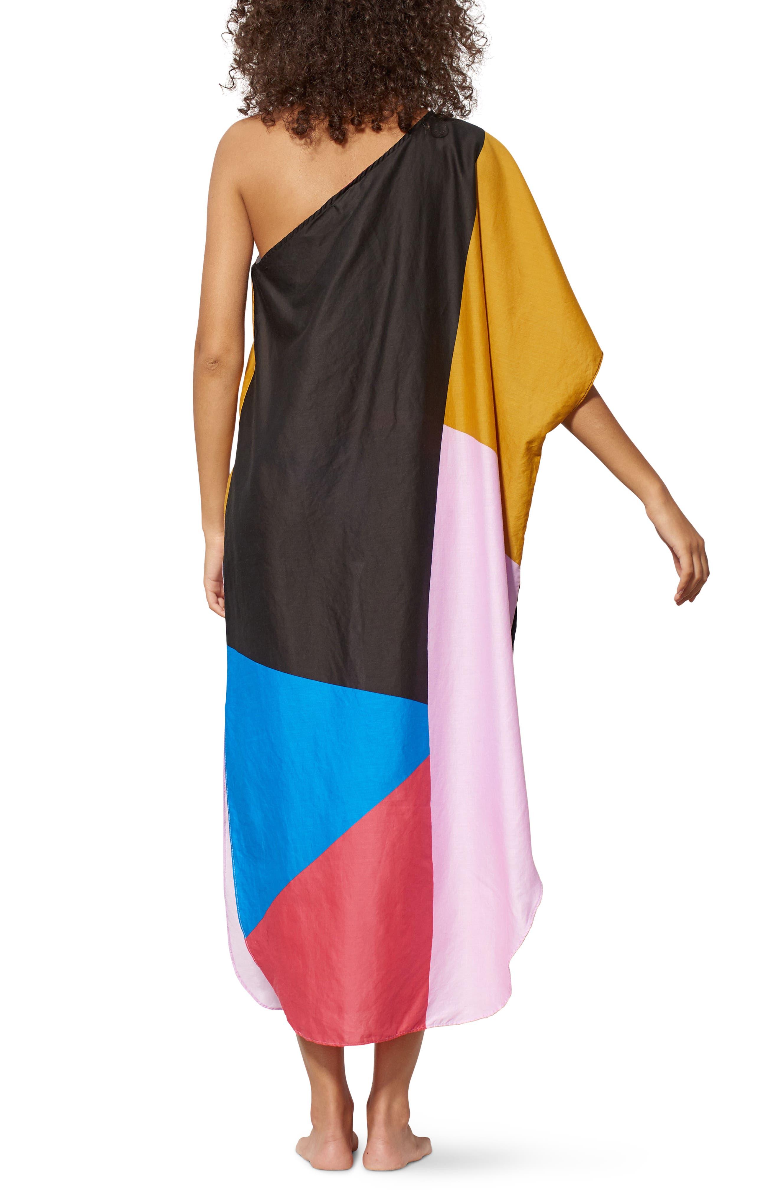 Noa One-Shoulder Cover-Up Maxi Dress,                             Alternate thumbnail 2, color,                             Blue Multi