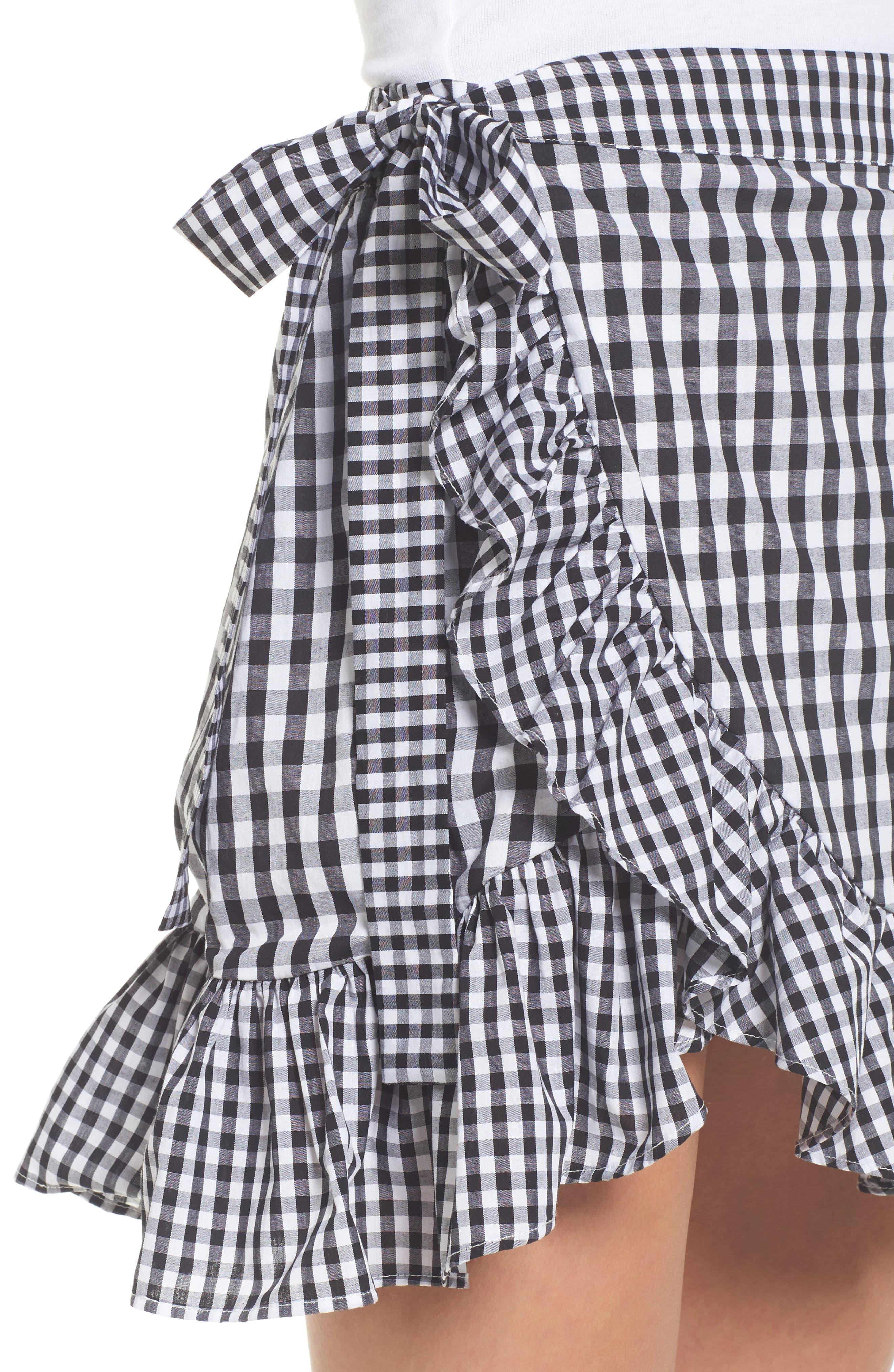Cinci Wrap Skirt,                             Alternate thumbnail 5, color,                             Black/ White