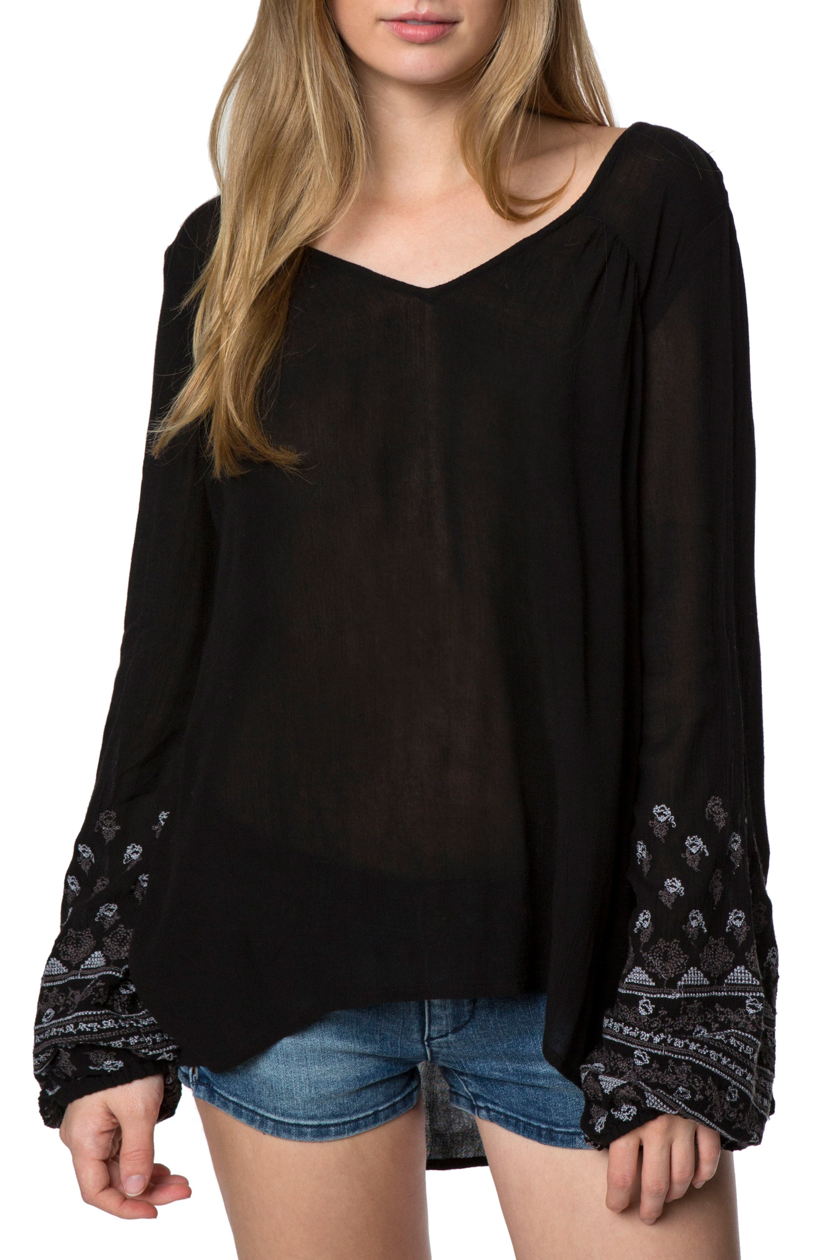 Mariana Embroidered Top,                         Main,                         color, Black