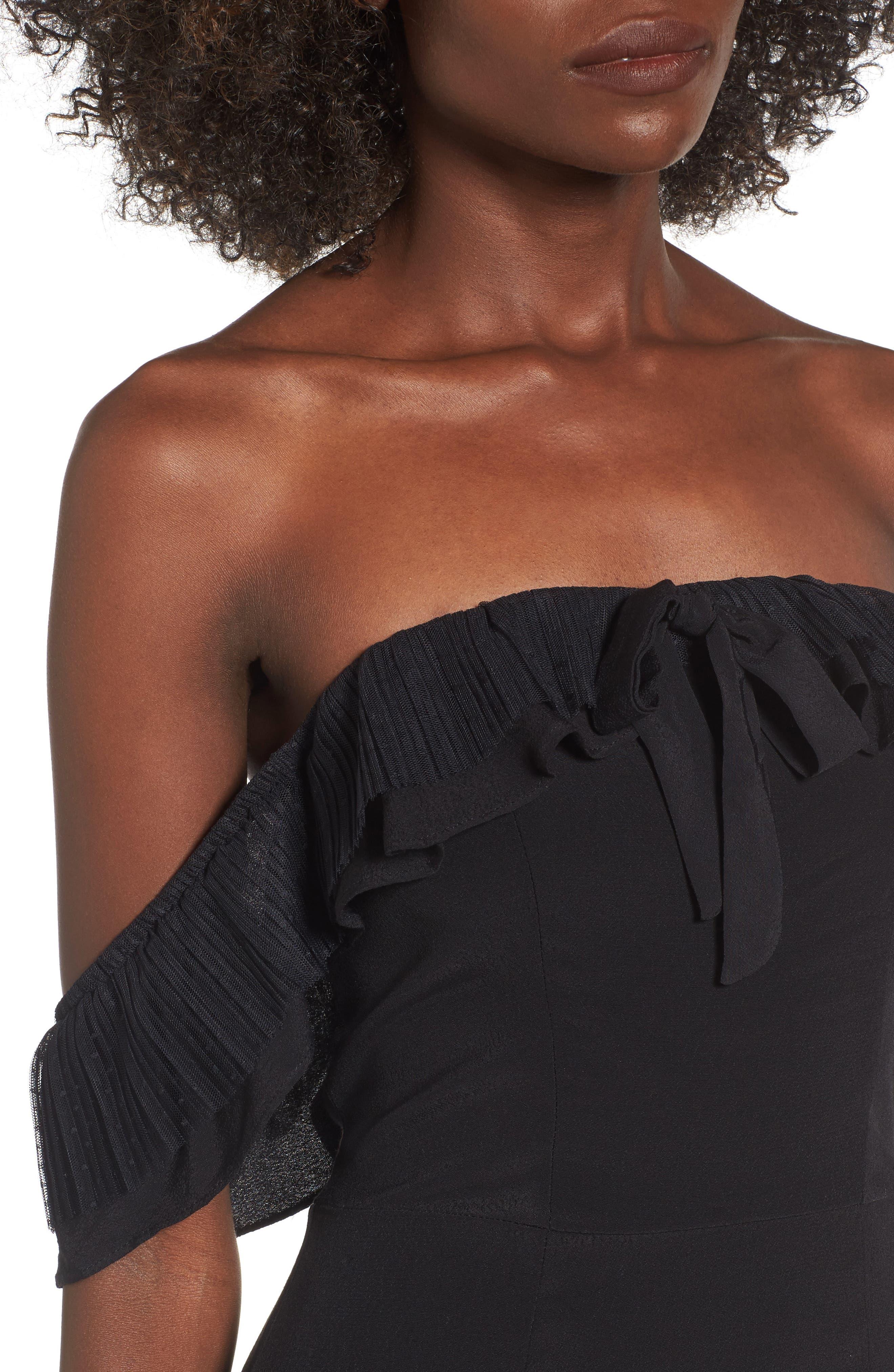 Claire Off the Shoulder Minidress,                             Alternate thumbnail 4, color,                             Black