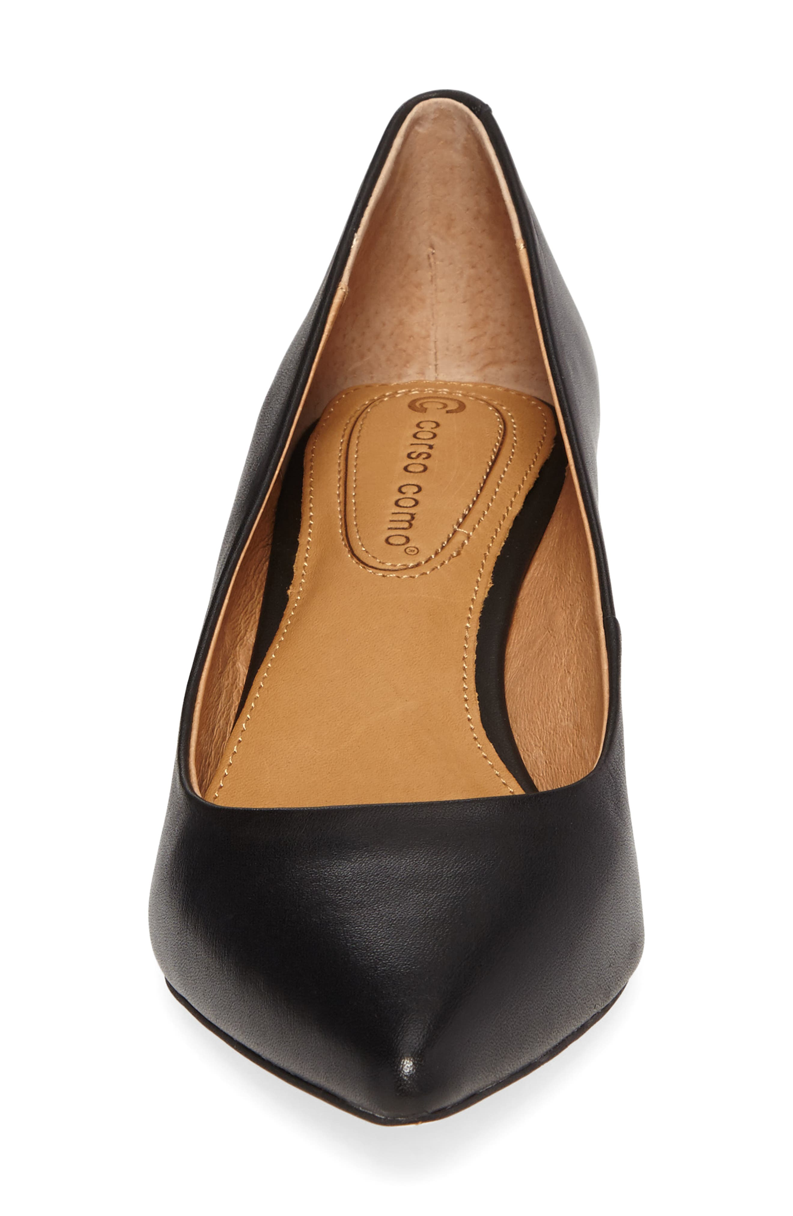 Nelly Pointy Toe Wedge Pump,                             Alternate thumbnail 4, color,                             Black Leather