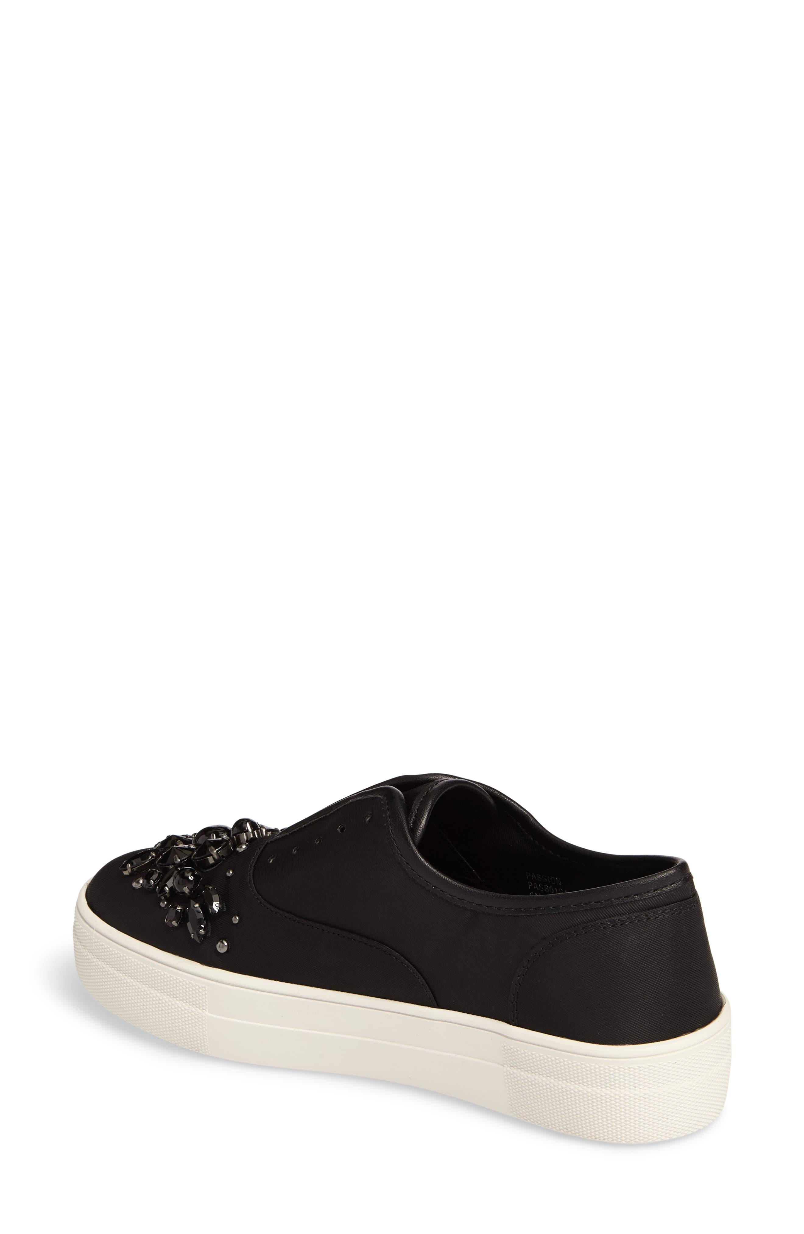 Passion Embellished Slip-On Platform Sneaker,                             Alternate thumbnail 2, color,                             Black