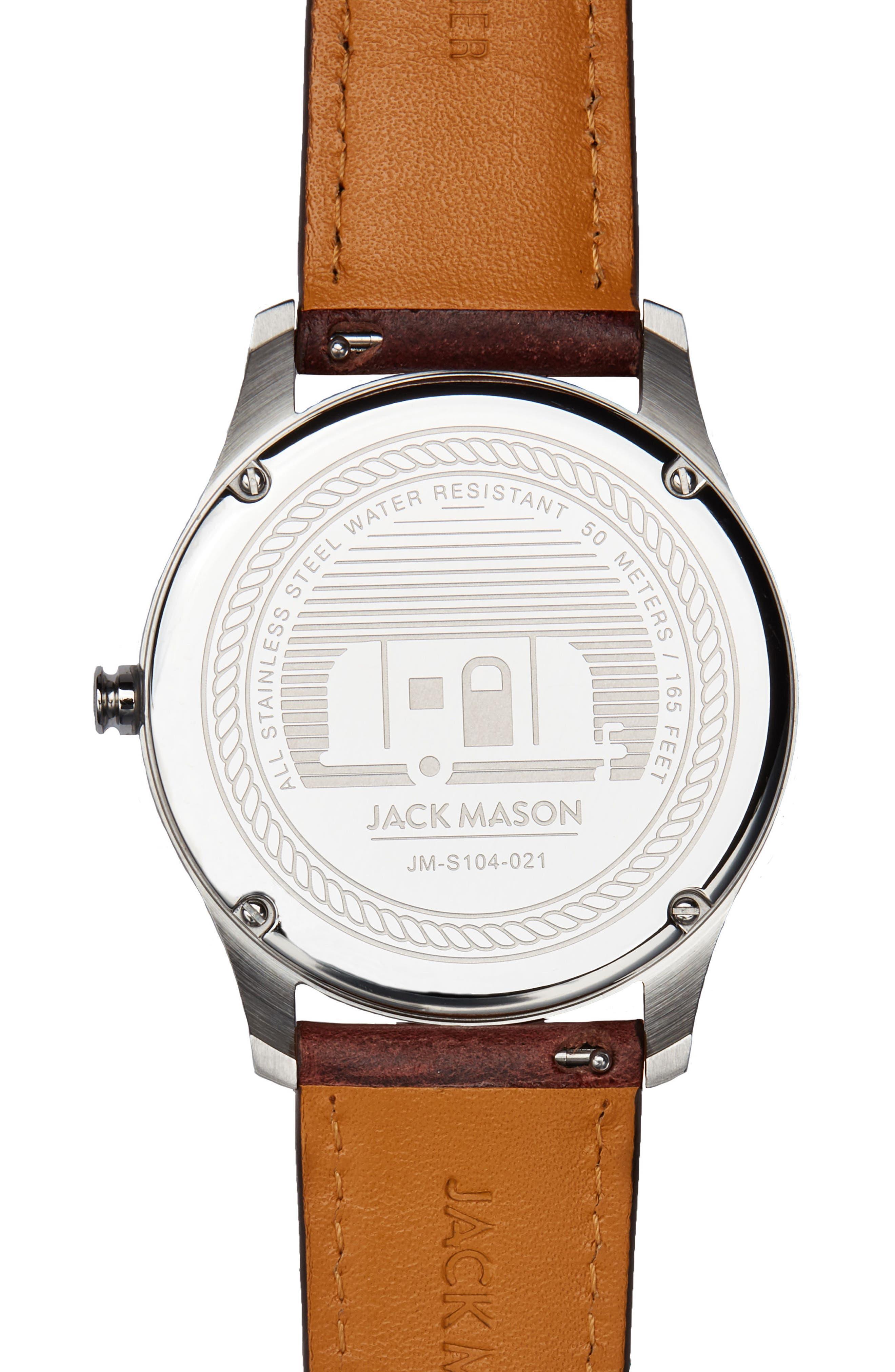 Alternate Image 2  - Jack Mason Slim Multifunction Leather Strap Watch, 46mm