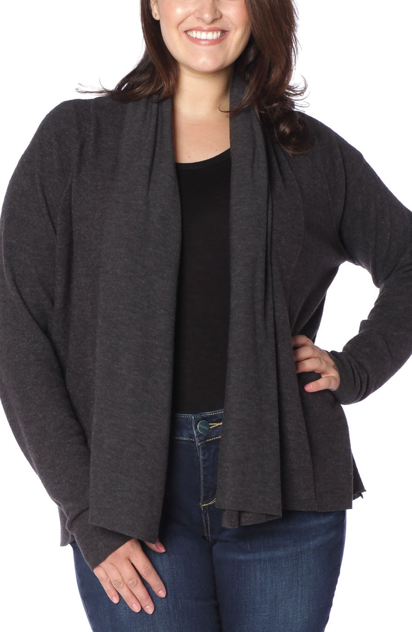 SLINK JEANS Draped Open Cardigan in Charcoal