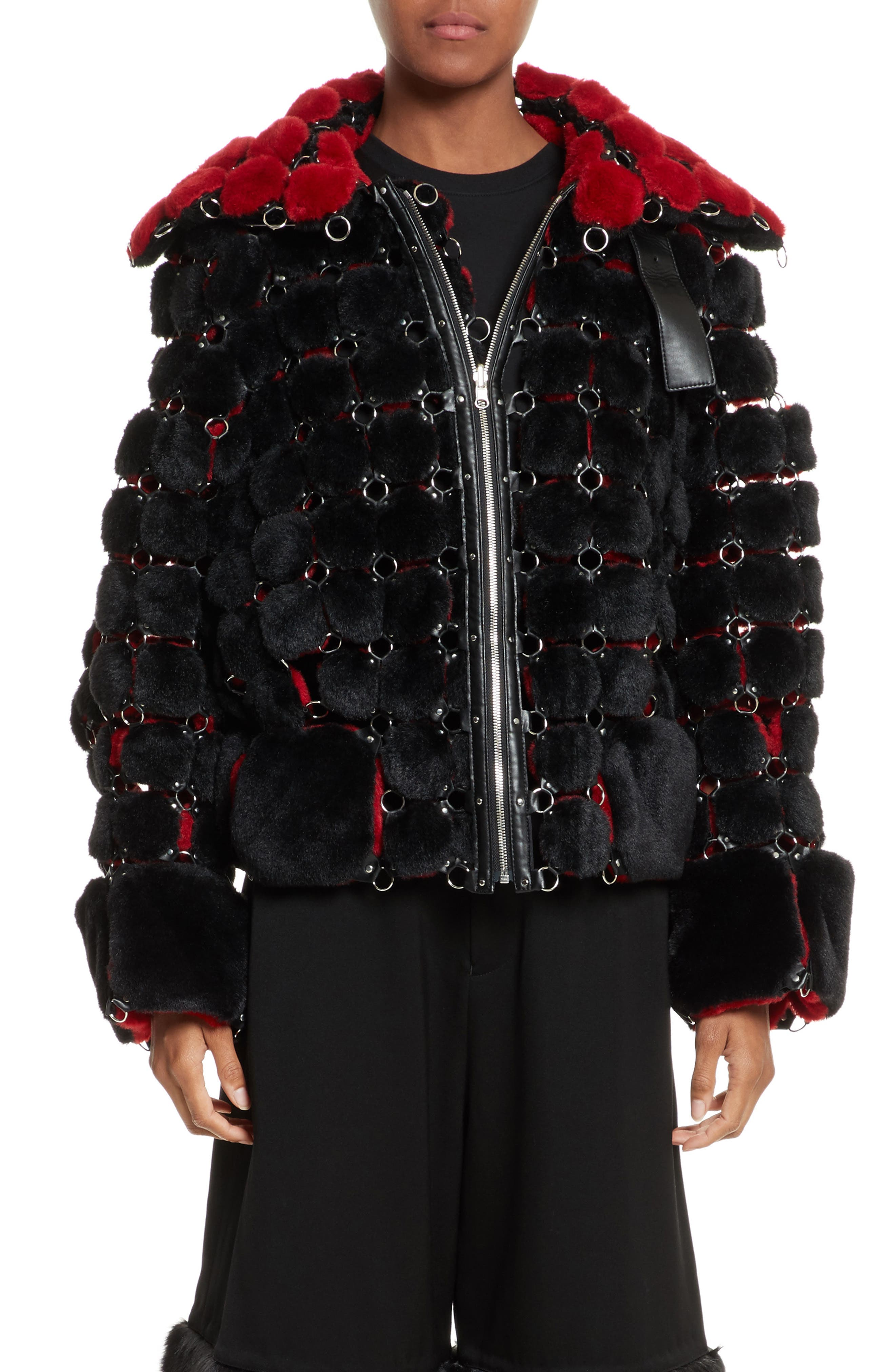 Faux Fur Jacket with Chain Mail Detail,                         Main,                         color, Black/ Red