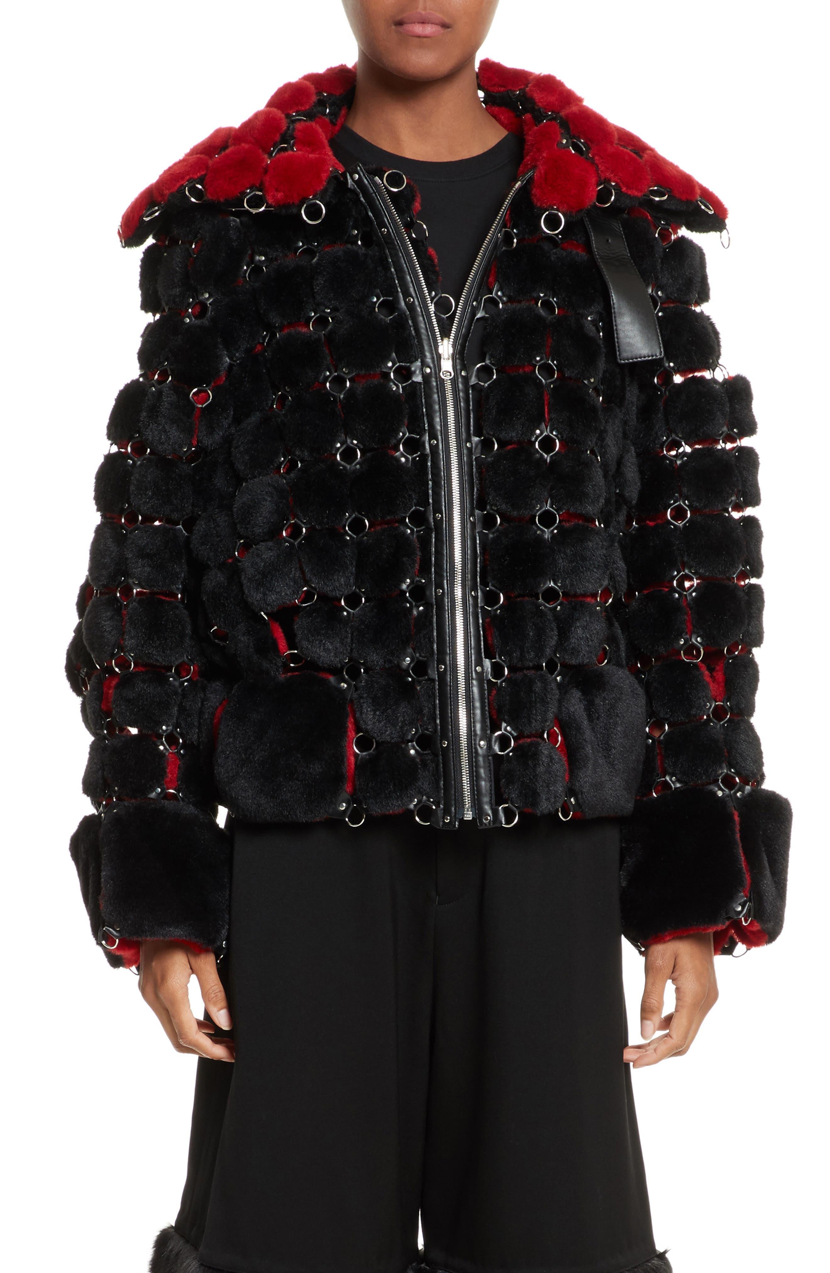 noir kei ninomiya Faux Fur Jacket with Chain Mail Detail
