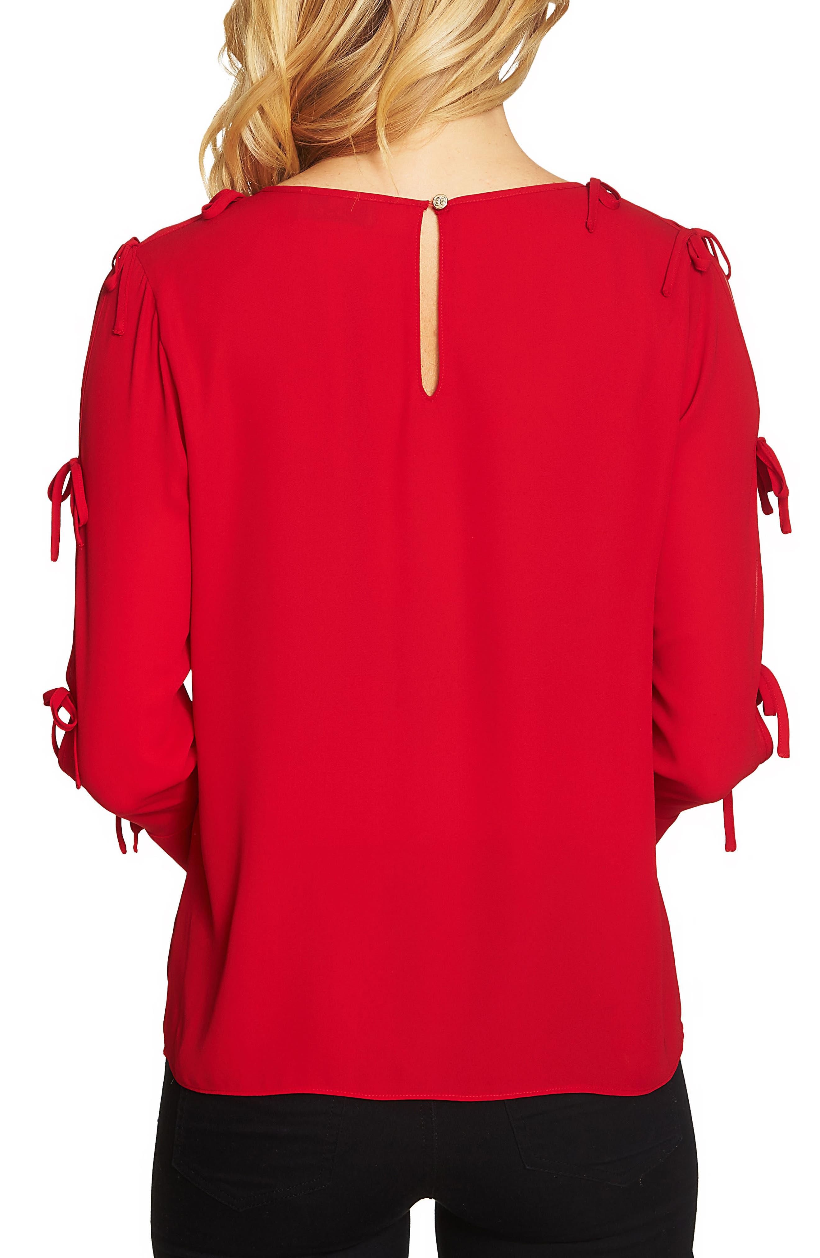 Split Sleeve Bow Blouse,                             Alternate thumbnail 2, color,                             Ribbon Red