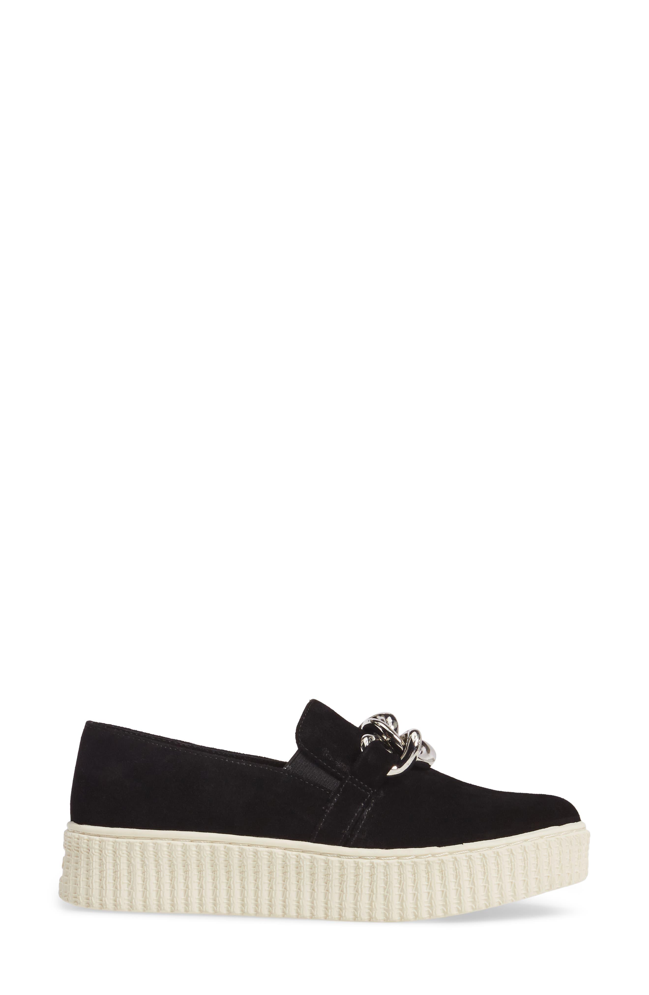 Roberta Platform Sneaker,                             Alternate thumbnail 3, color,                             Black Suede