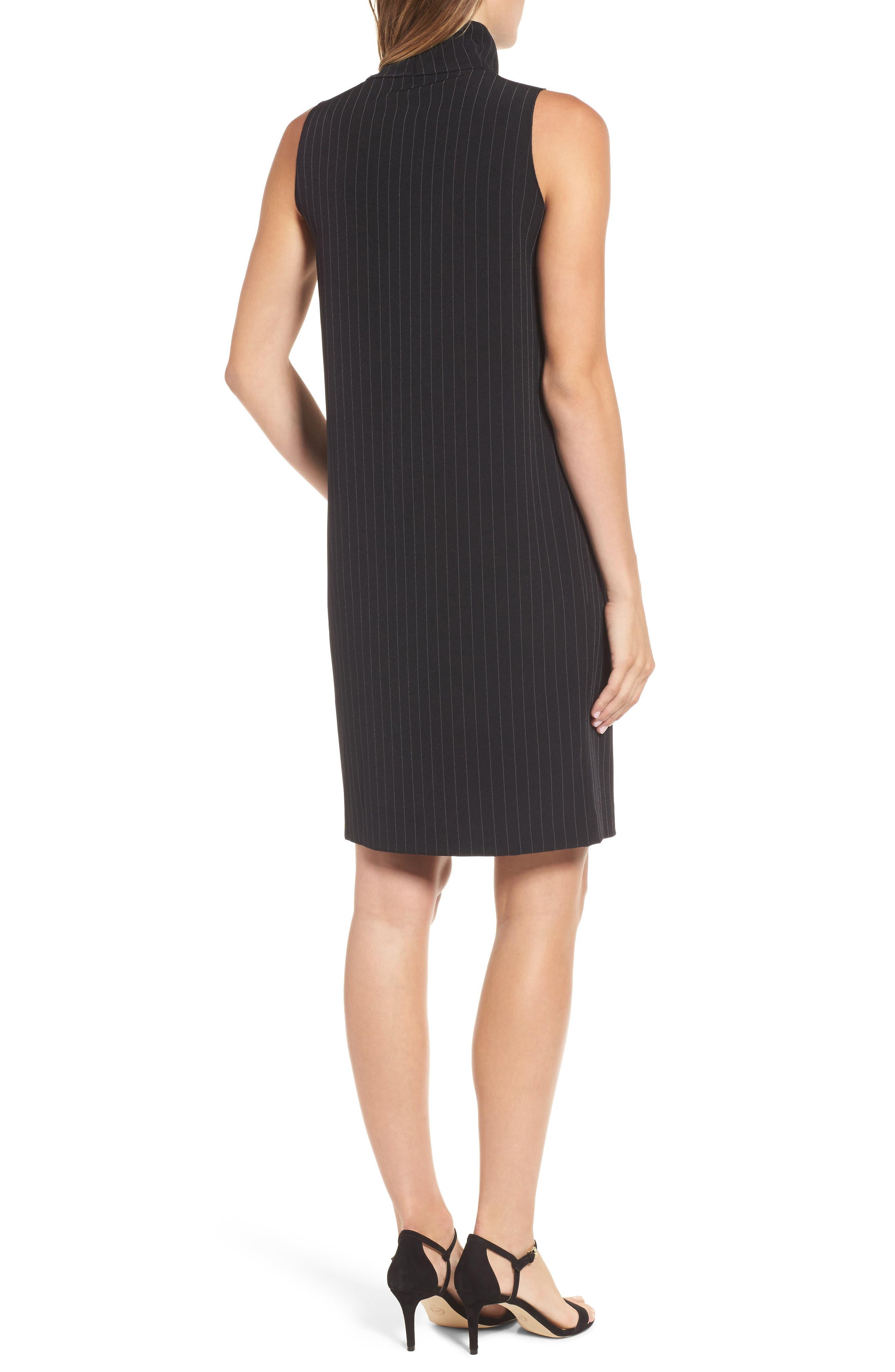 Pinstripe Shift Dress,                             Alternate thumbnail 2, color,                             Black/ White