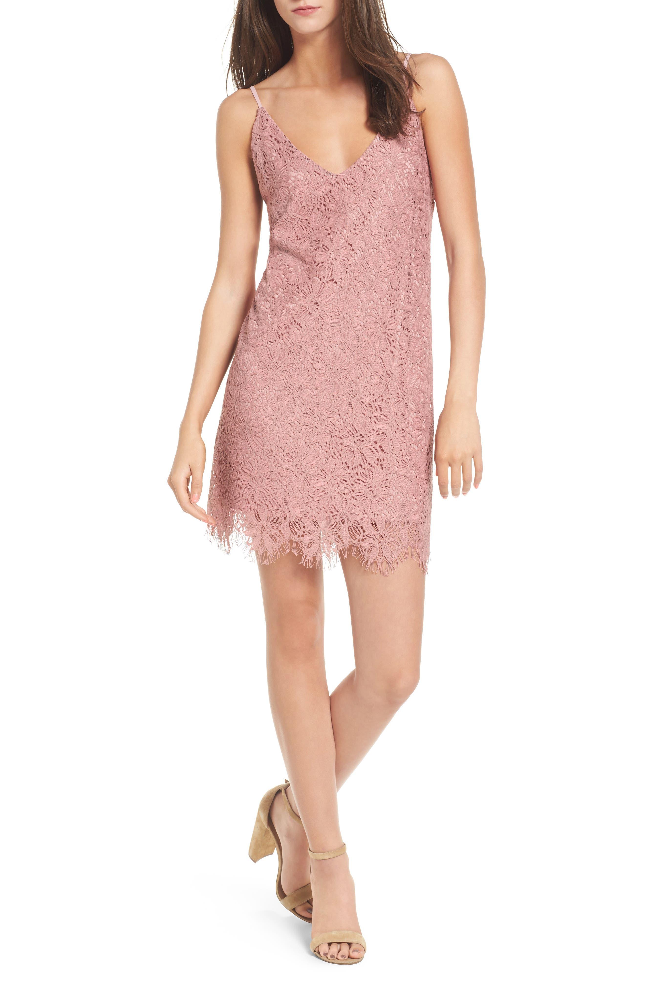 Scallop Hem Lace Slipdress,                         Main,                         color, Mauve
