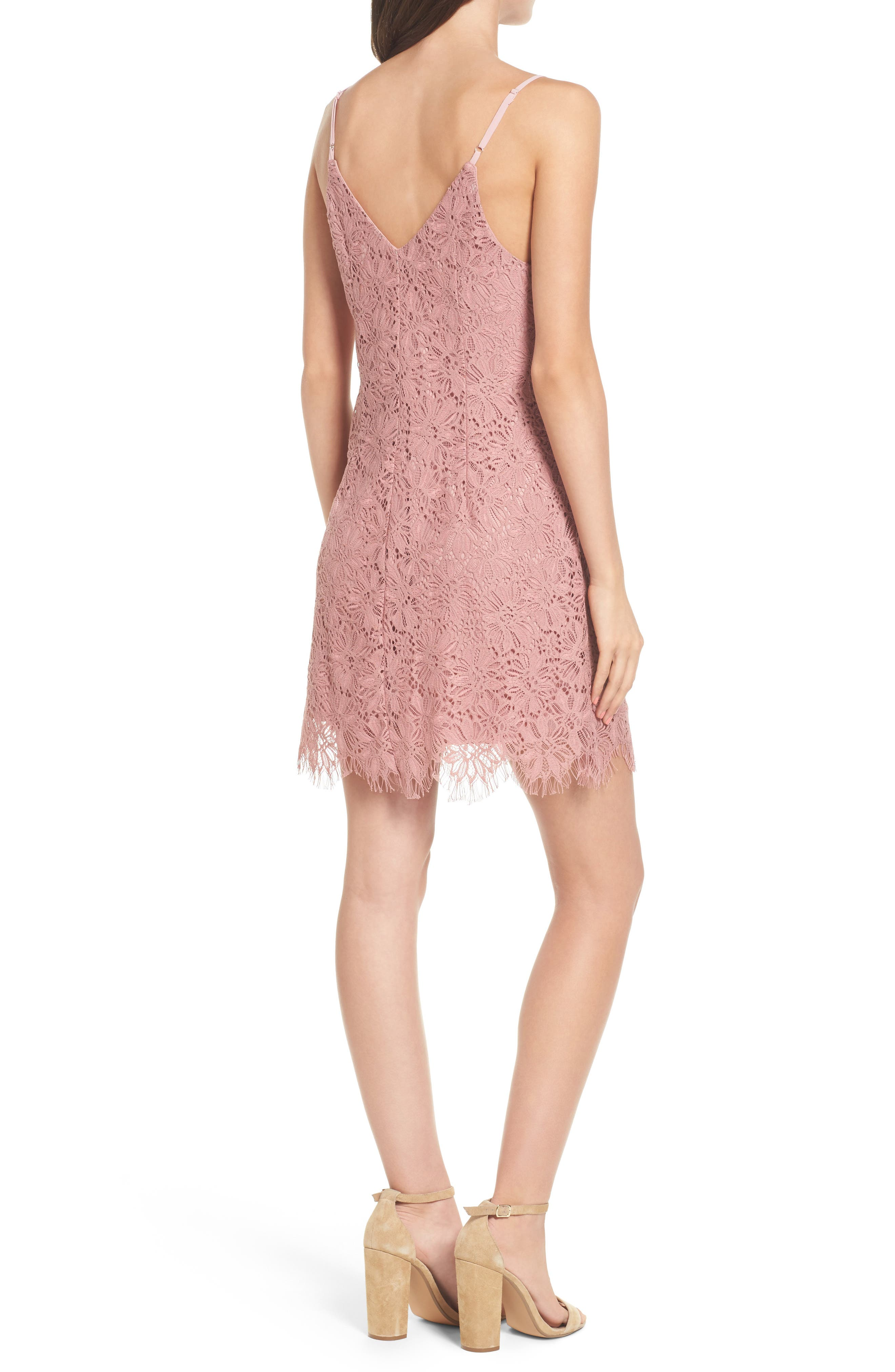 Alternate Image 2  - Speechless Scallop Hem Lace Slipdress