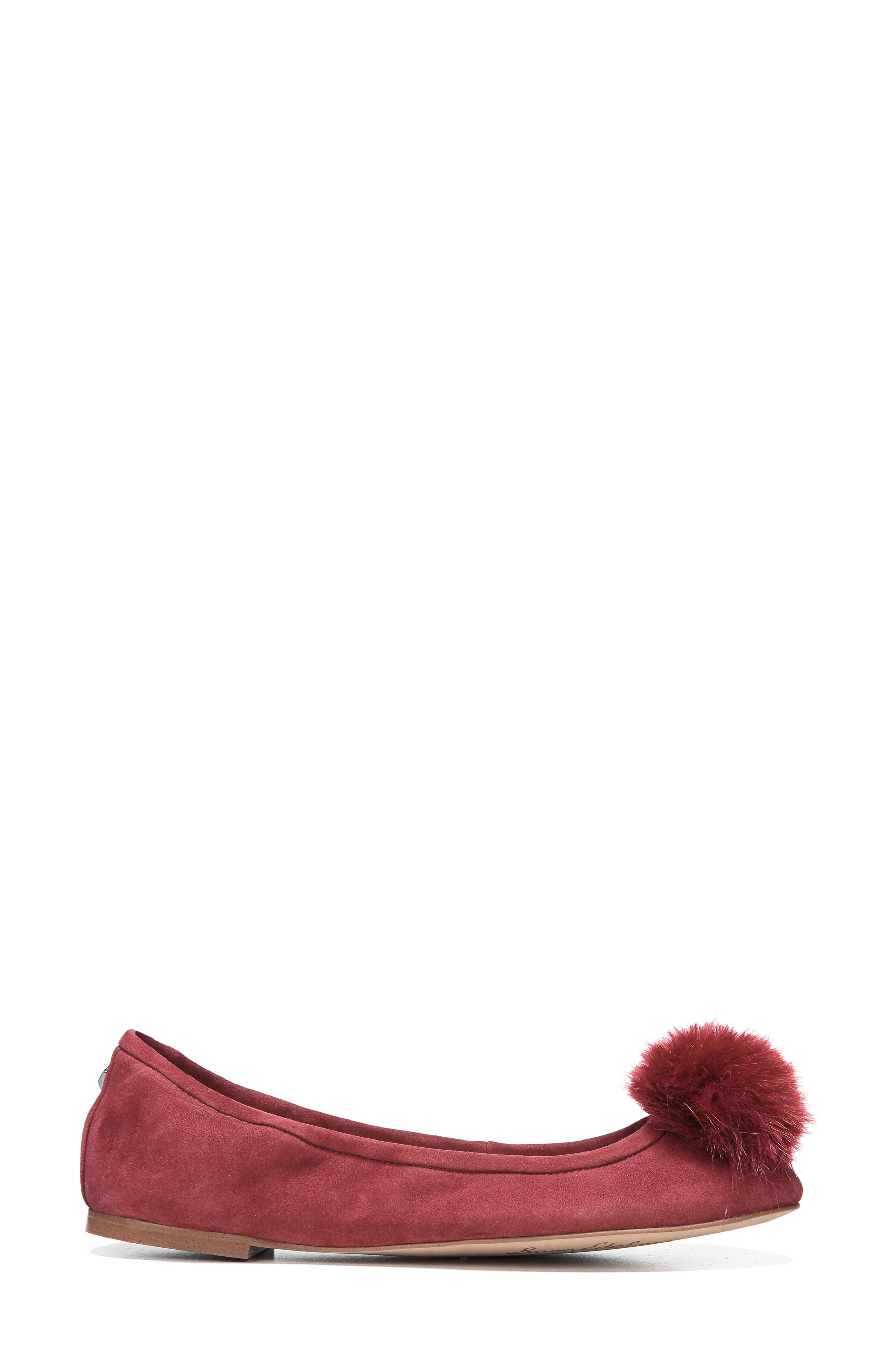 Farina Flat with Faux Fur Pompom,                             Alternate thumbnail 3, color,                             Tango Red Leather