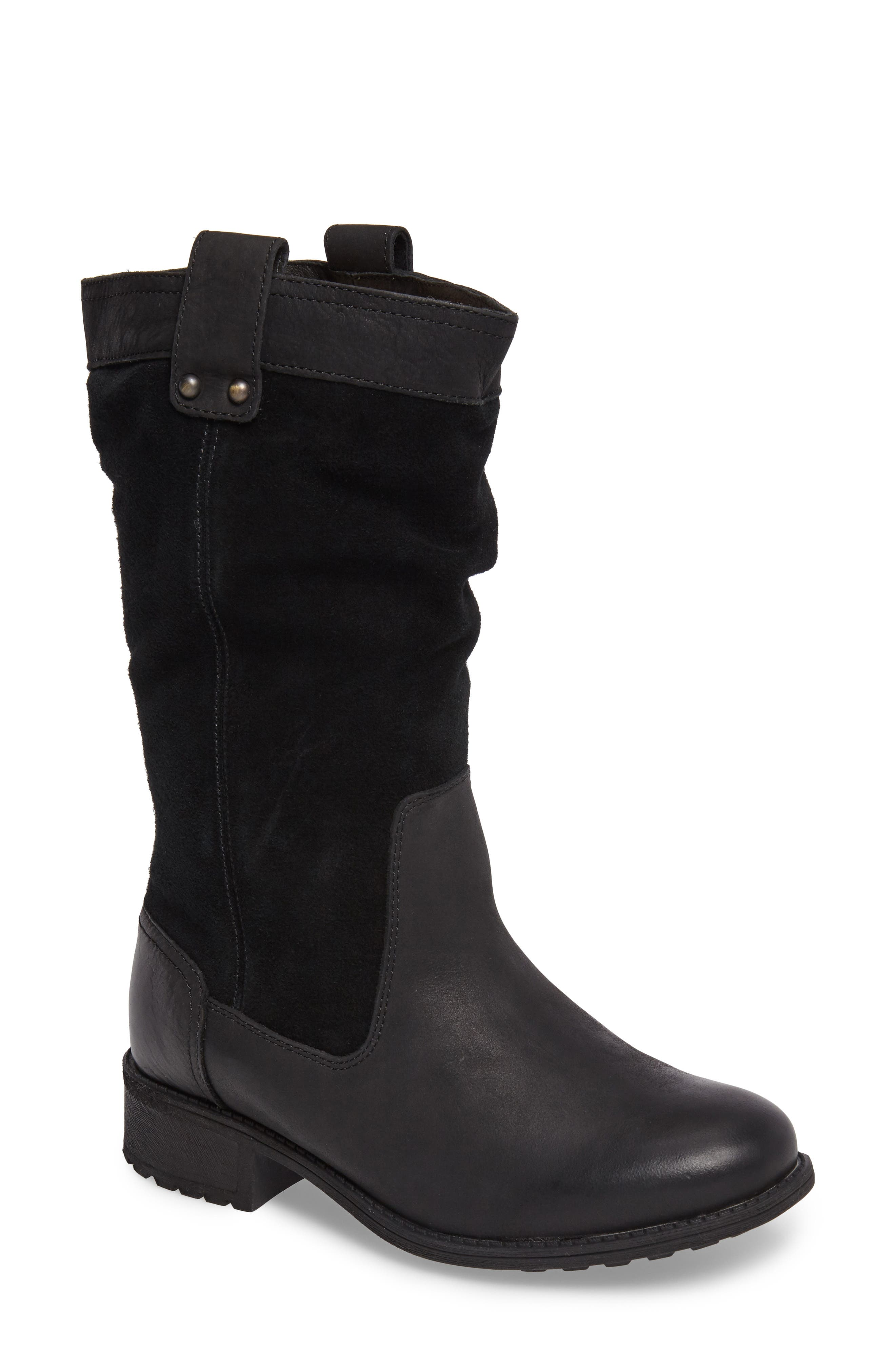 Bruckner Water Resistant Slouch Boot,                             Main thumbnail 1, color,                             Black Leather