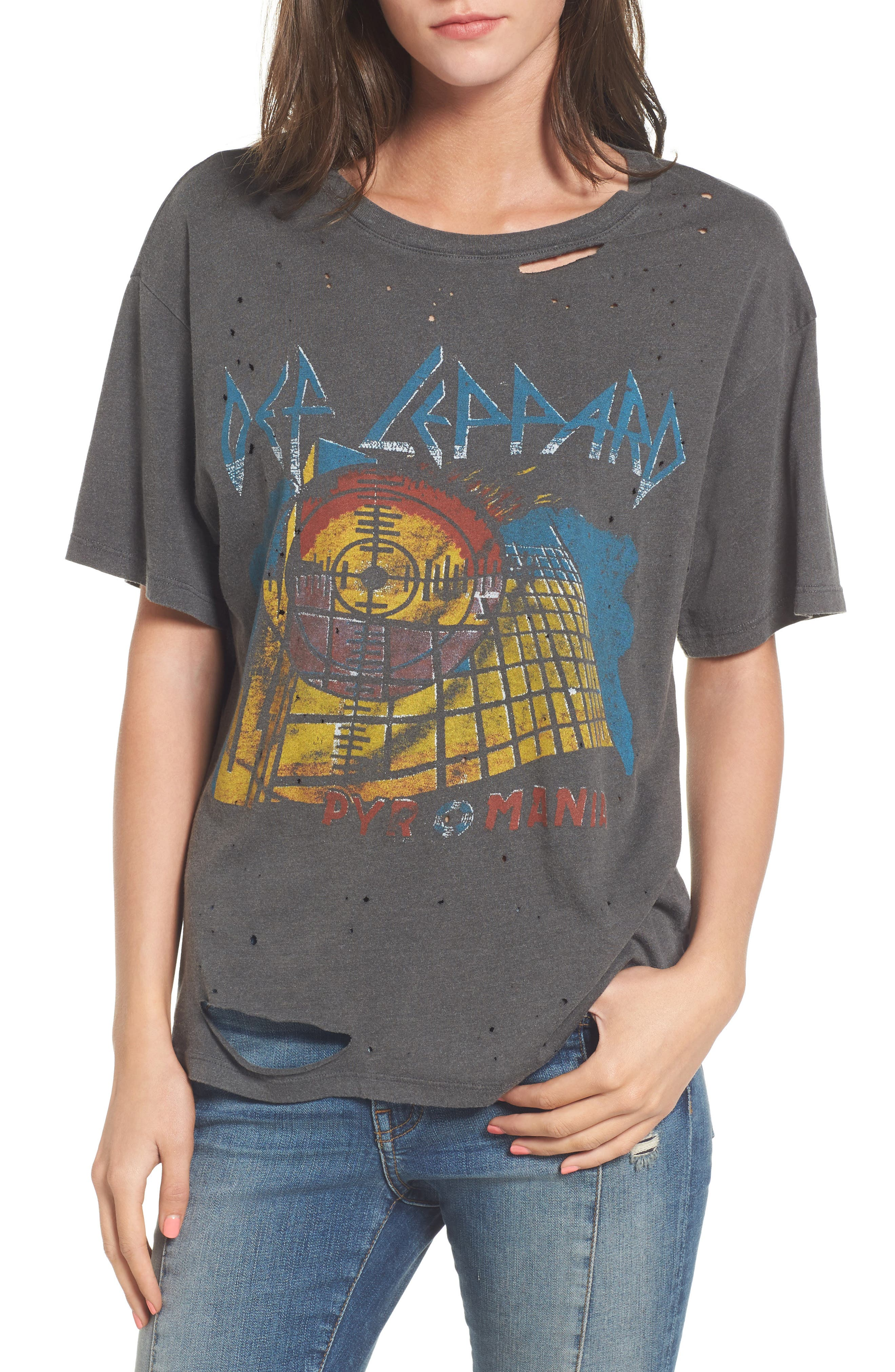 Def Leppard Ripped Graphic Tee,                         Main,                         color, Faded Black
