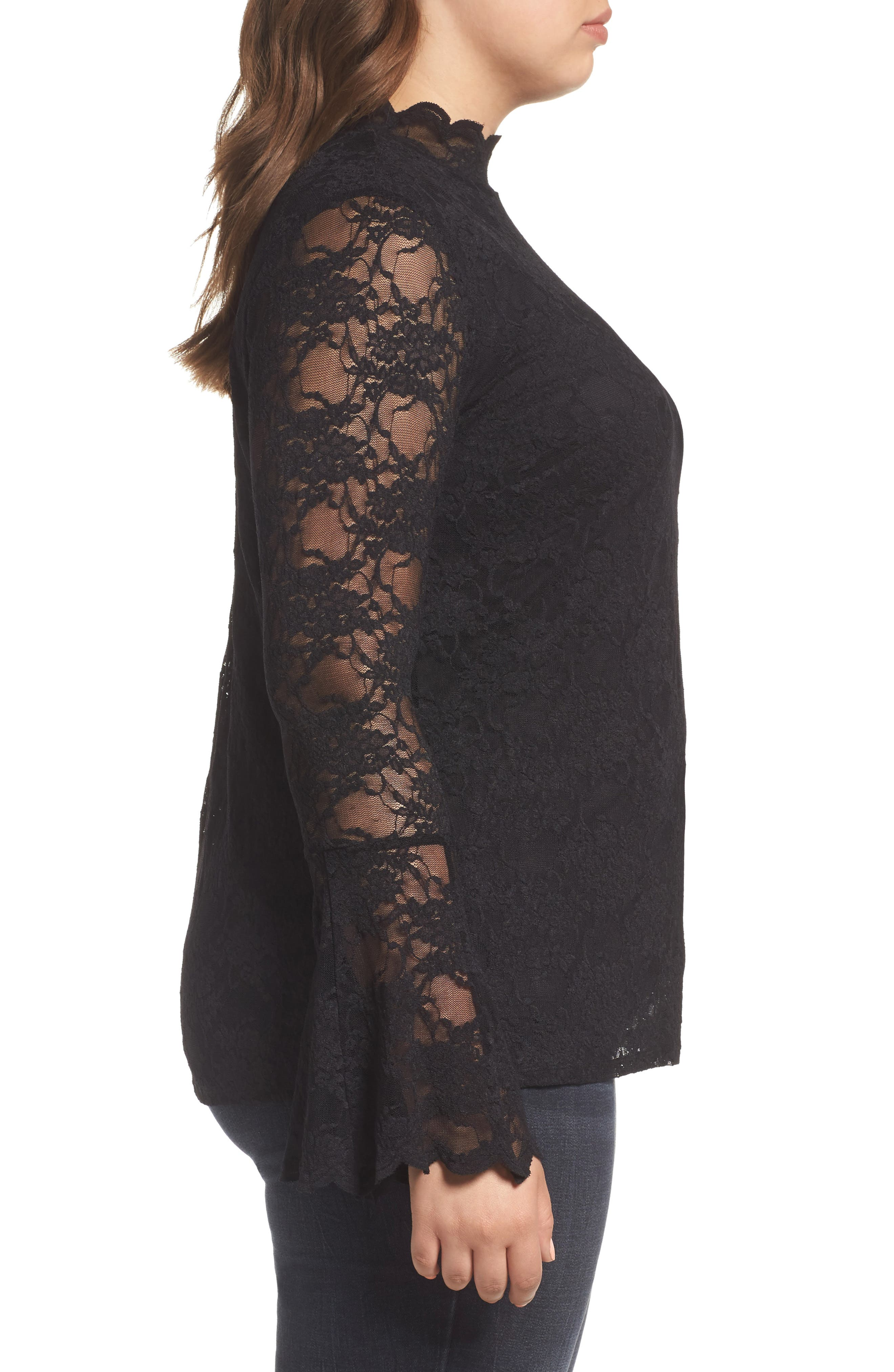 Alternate Image 3  - Vince Camuto Bell Sleeve Lace Top (Plus Size)