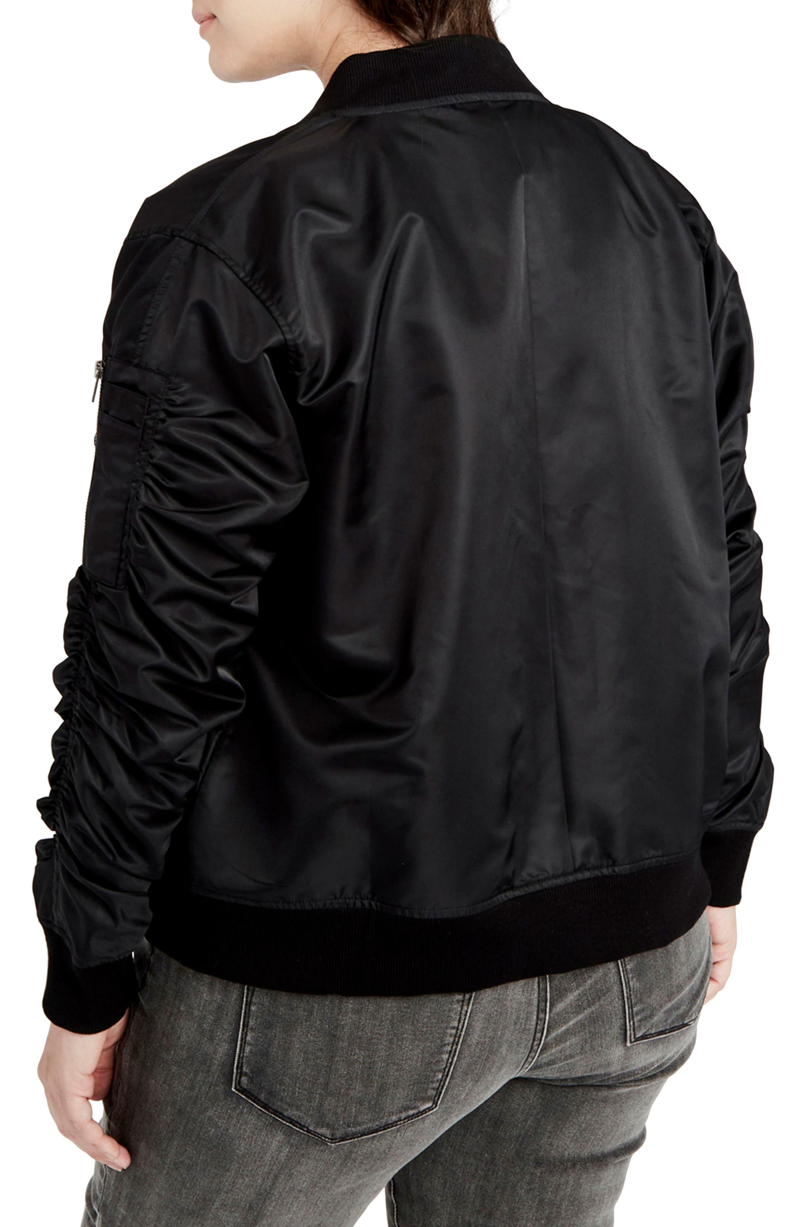 Alternate Image 2  - RACHEL Rachel Roy Nylon Bomber Jacket (Plus Size)