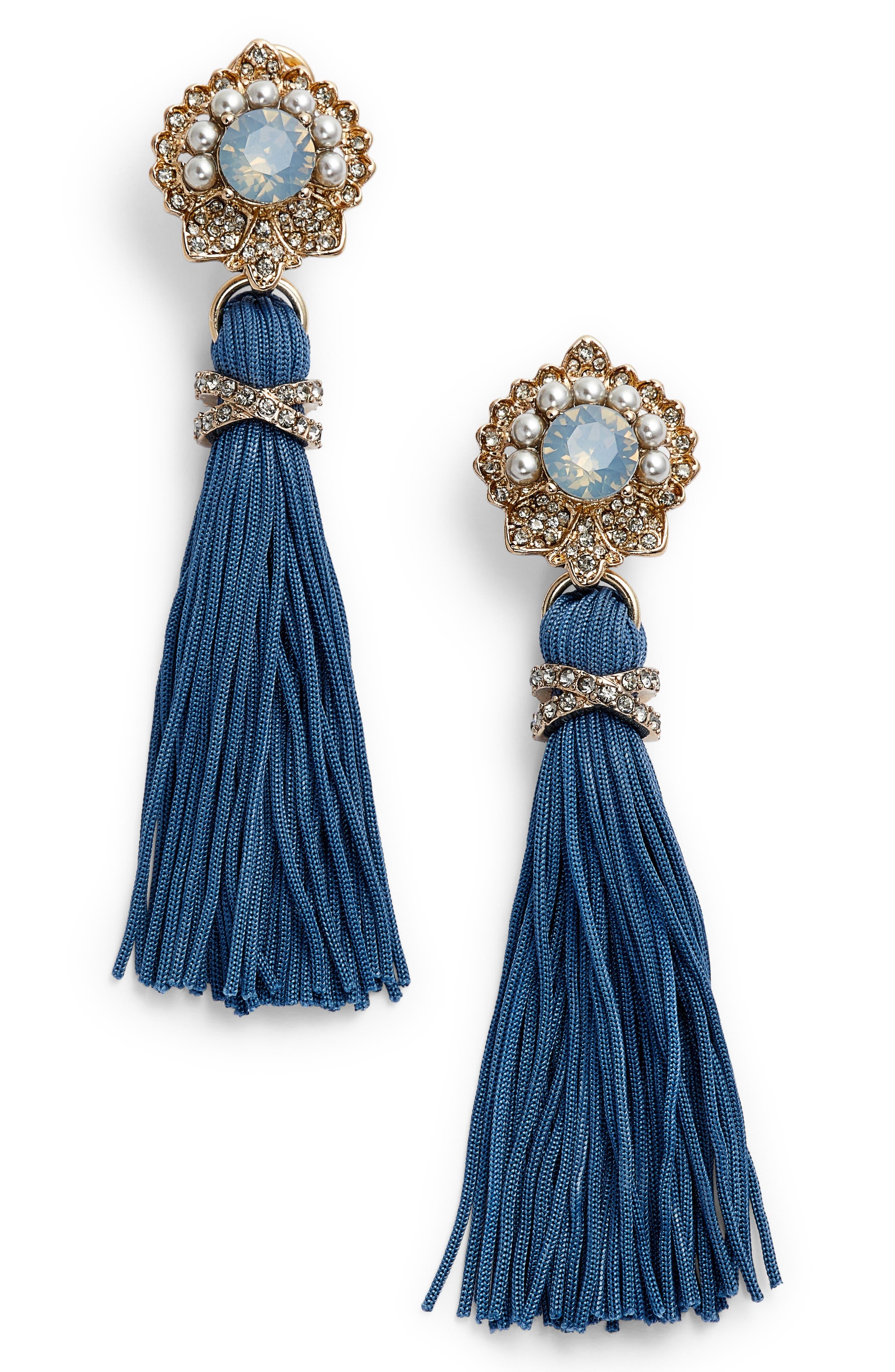 Marchesa Crystal & Tassel Drop Earrings