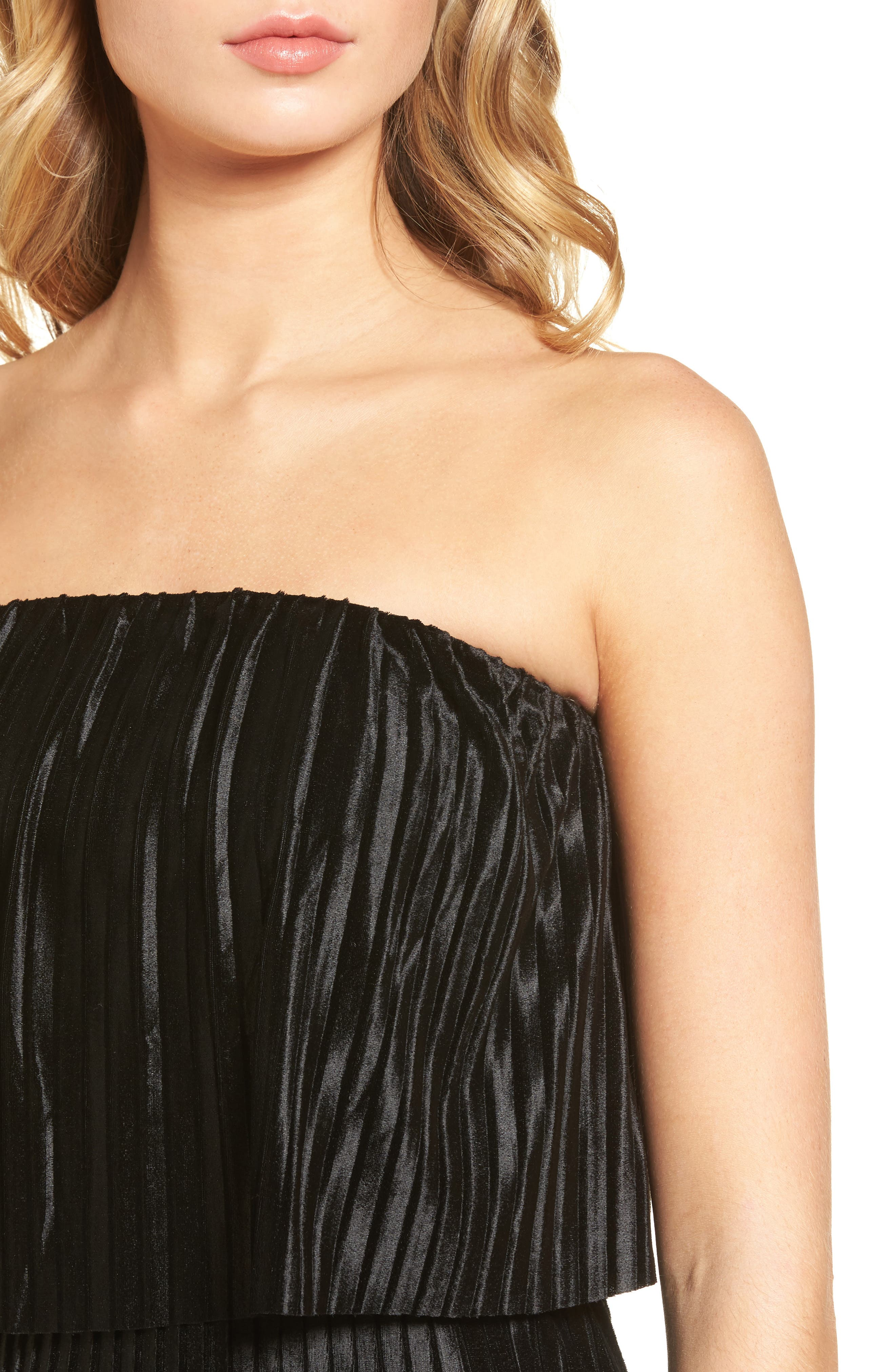 Pleated Popover Midi Dress,                             Alternate thumbnail 4, color,                             Black