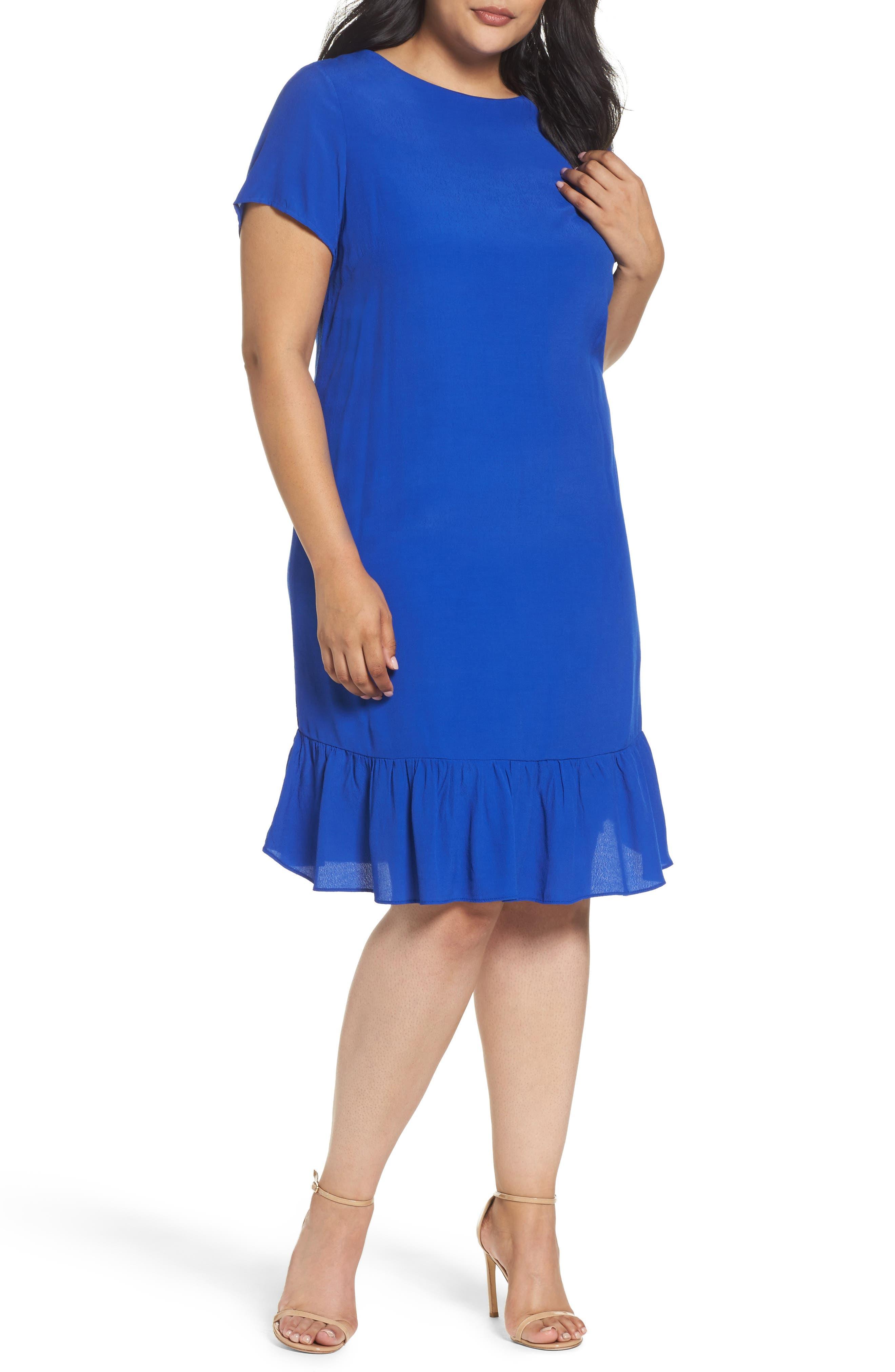 Drop Waist Knit Dress,                         Main,                         color, Blue