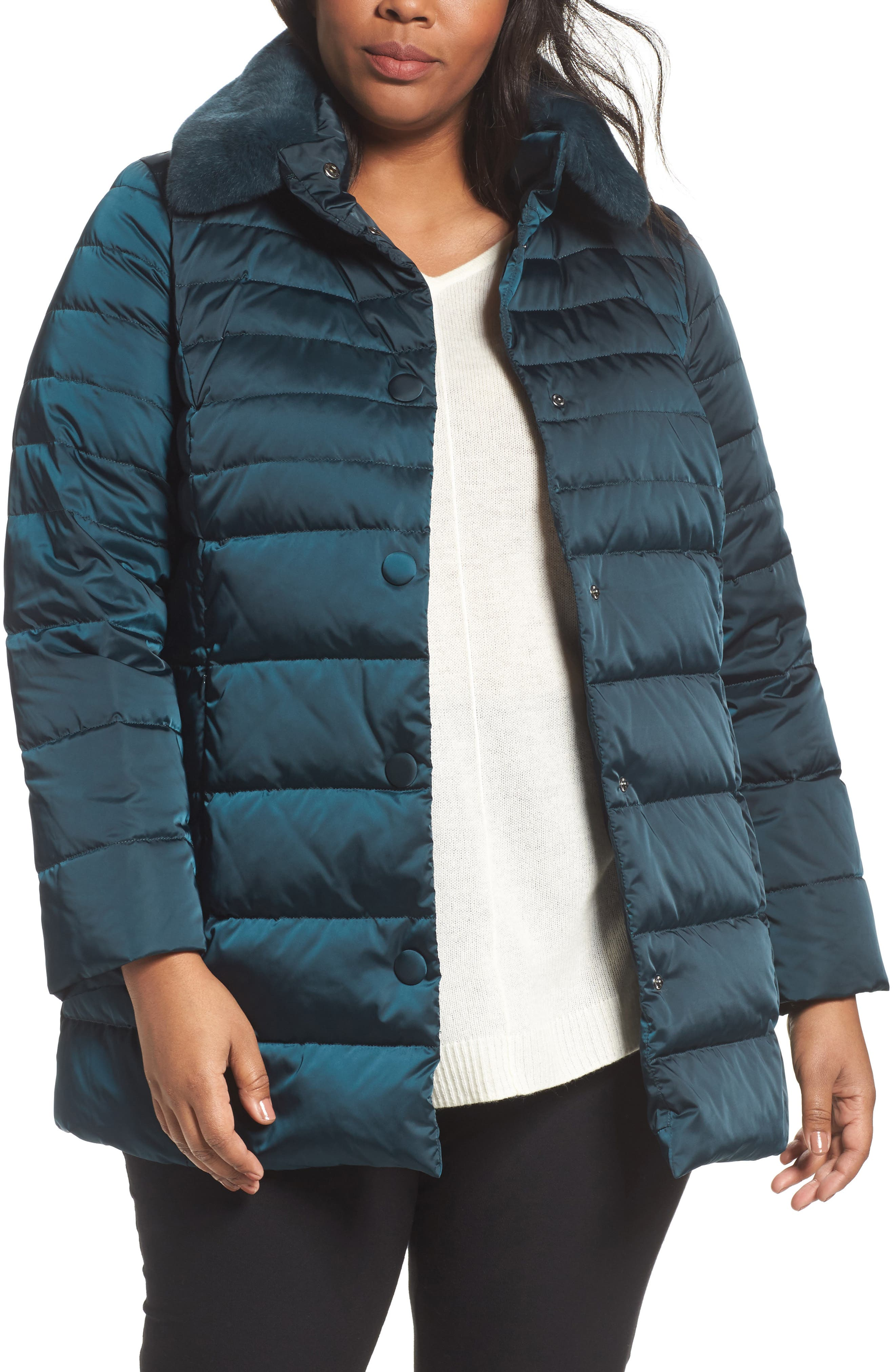 Persona by Marina Rinaldi Quilted Puffer Jacket with Genuine Rabbit Fur Trim (Plus Size)