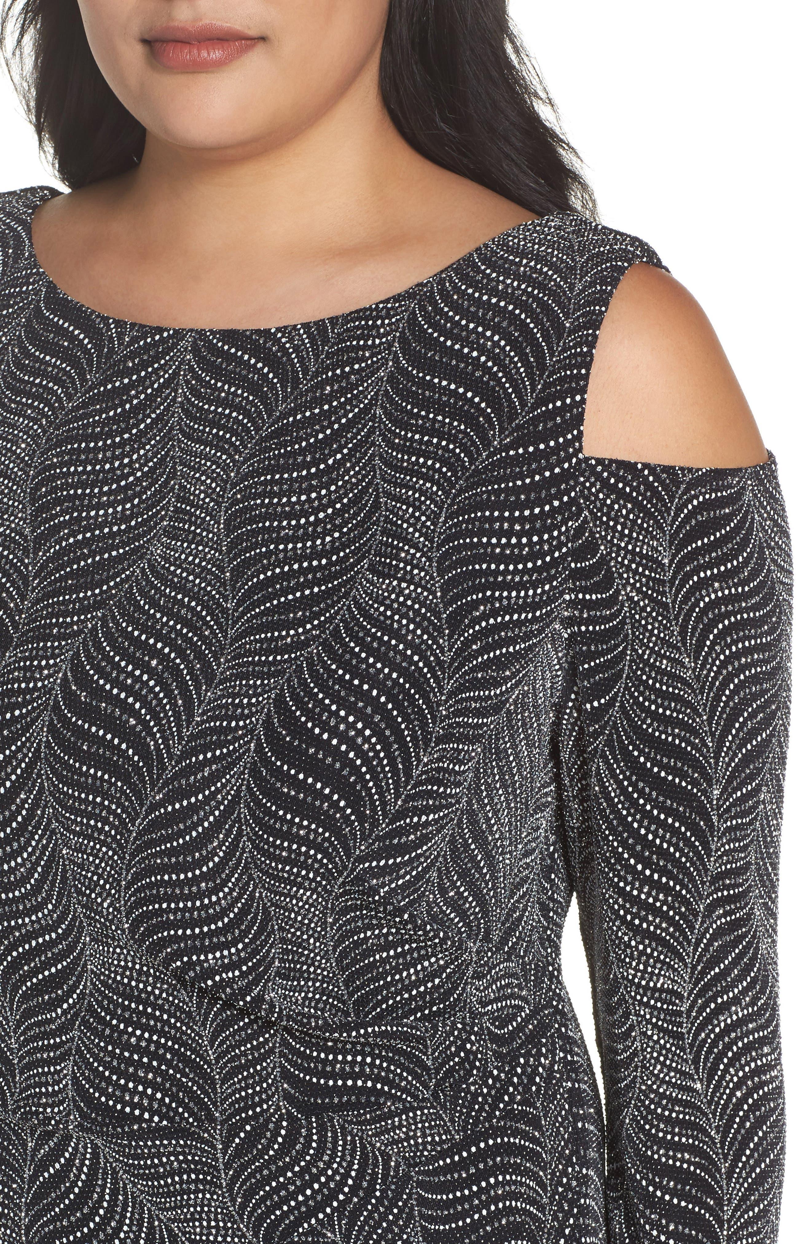 Cold Shoulder Glitter Knit Sheath Dress,                             Alternate thumbnail 4, color,                             Black/ Silver