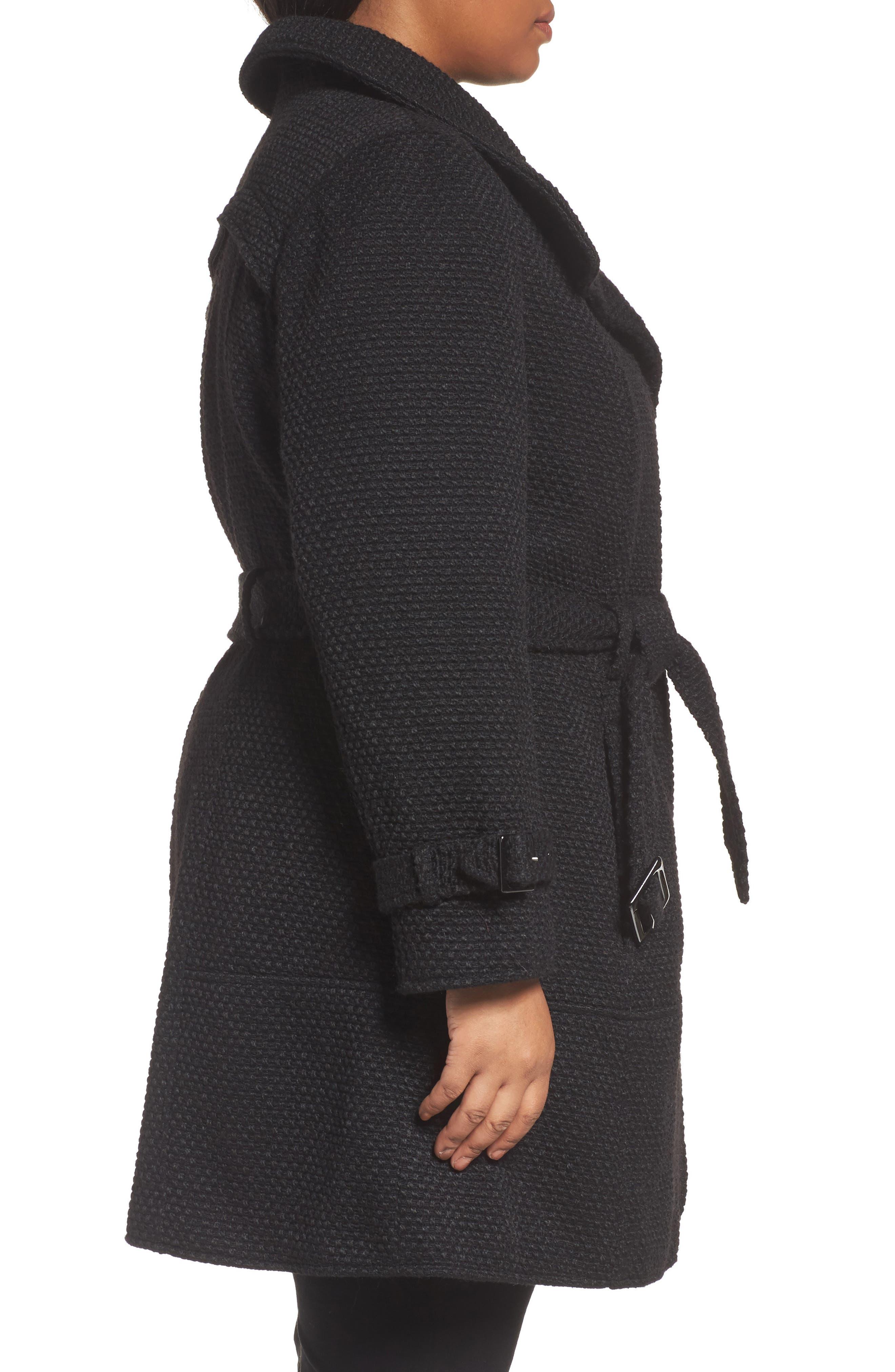 Alternate Image 3  - Gallery Waffle Woven Coat (Plus Size)