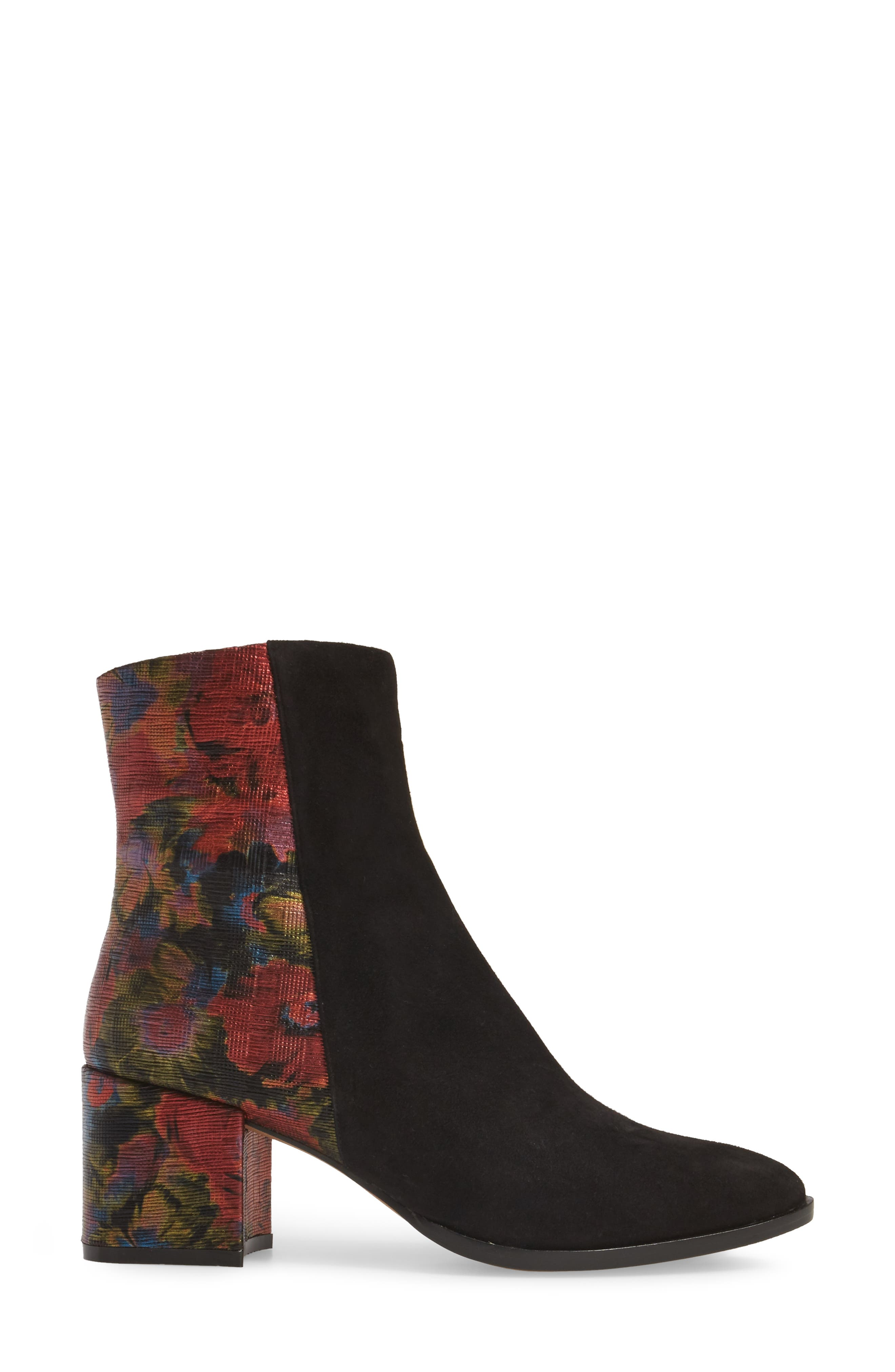 Brady Embellished Boot,                             Alternate thumbnail 3, color,                             Black/ Red Suede