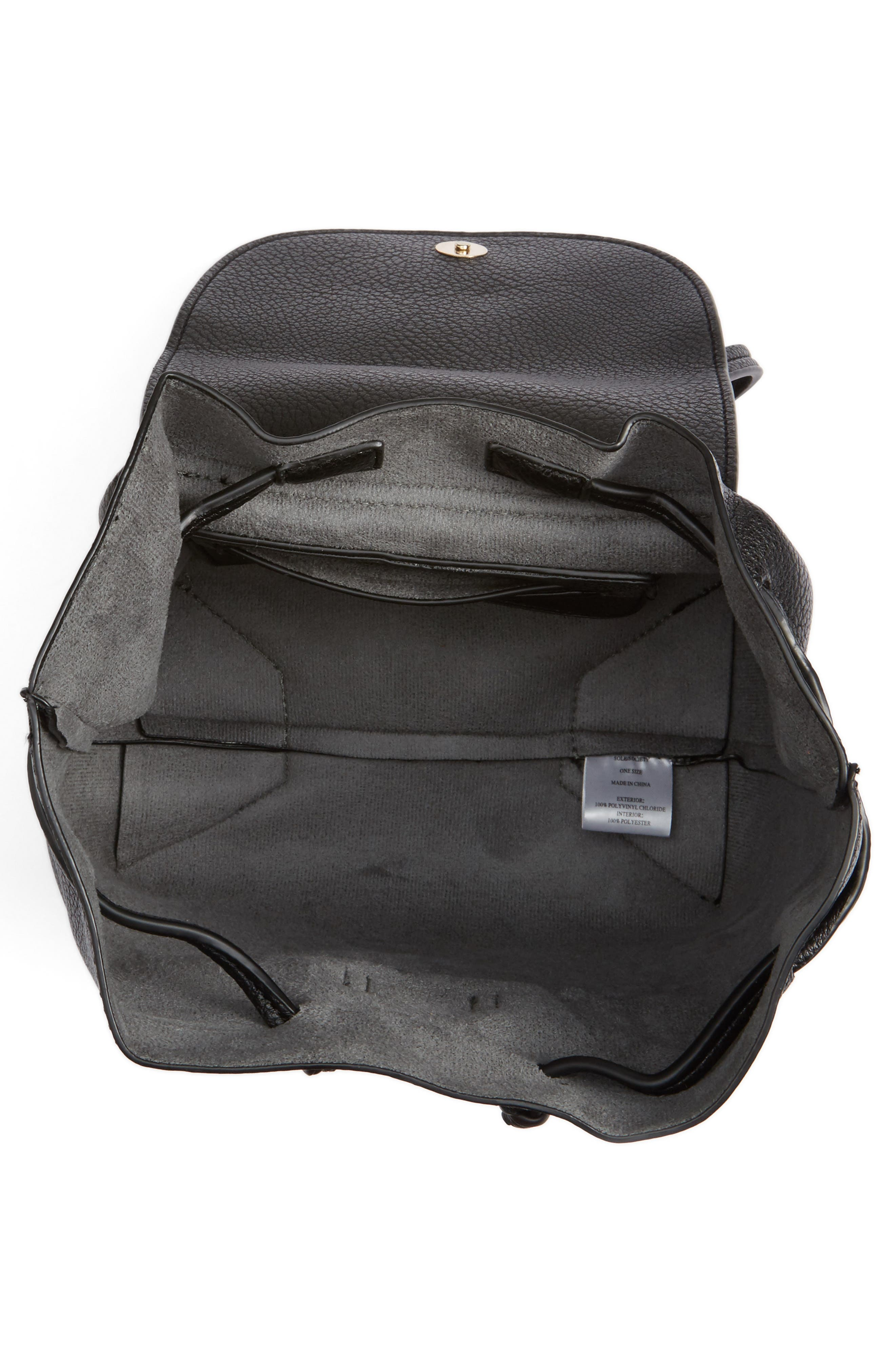 Jaylee Faux Leather Mini Backpack,                             Alternate thumbnail 5, color,                             Black