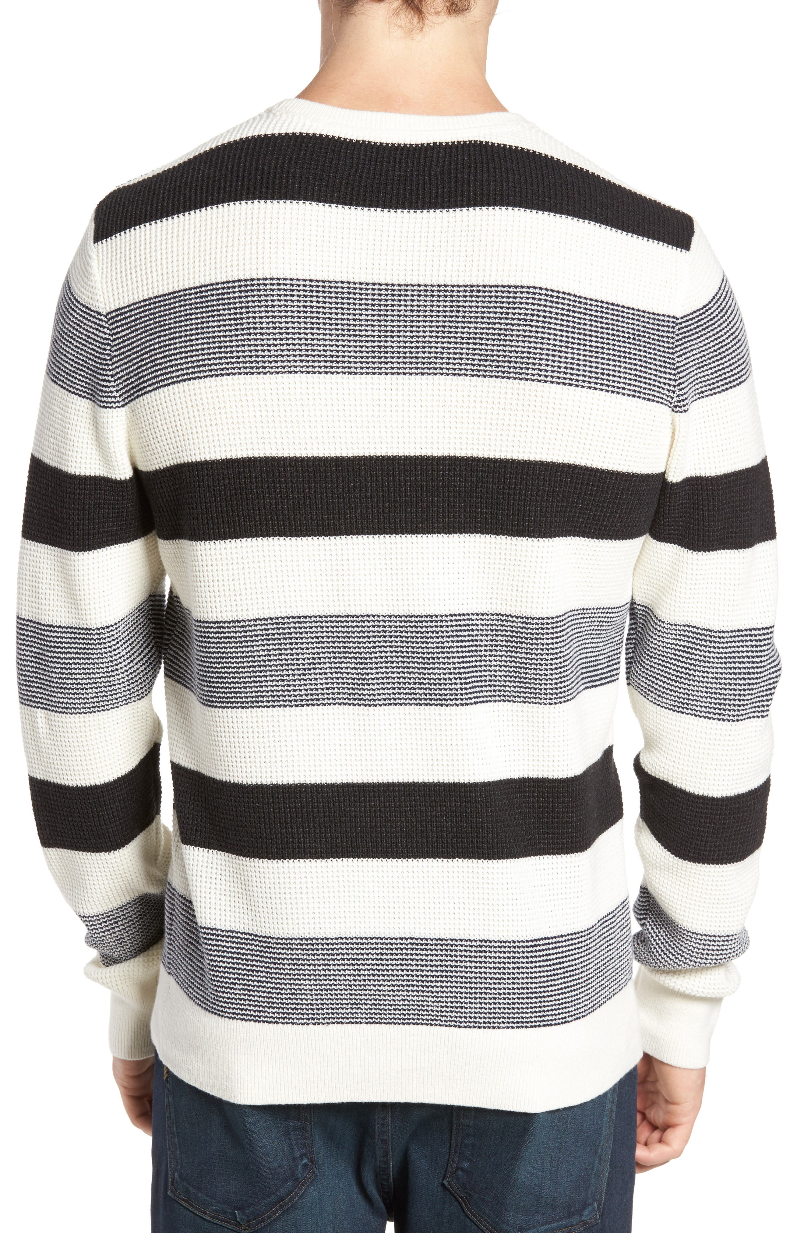 Stripe Waffle Knit Sweater,                             Alternate thumbnail 2, color,                             Ivory- Grey Large Stripe