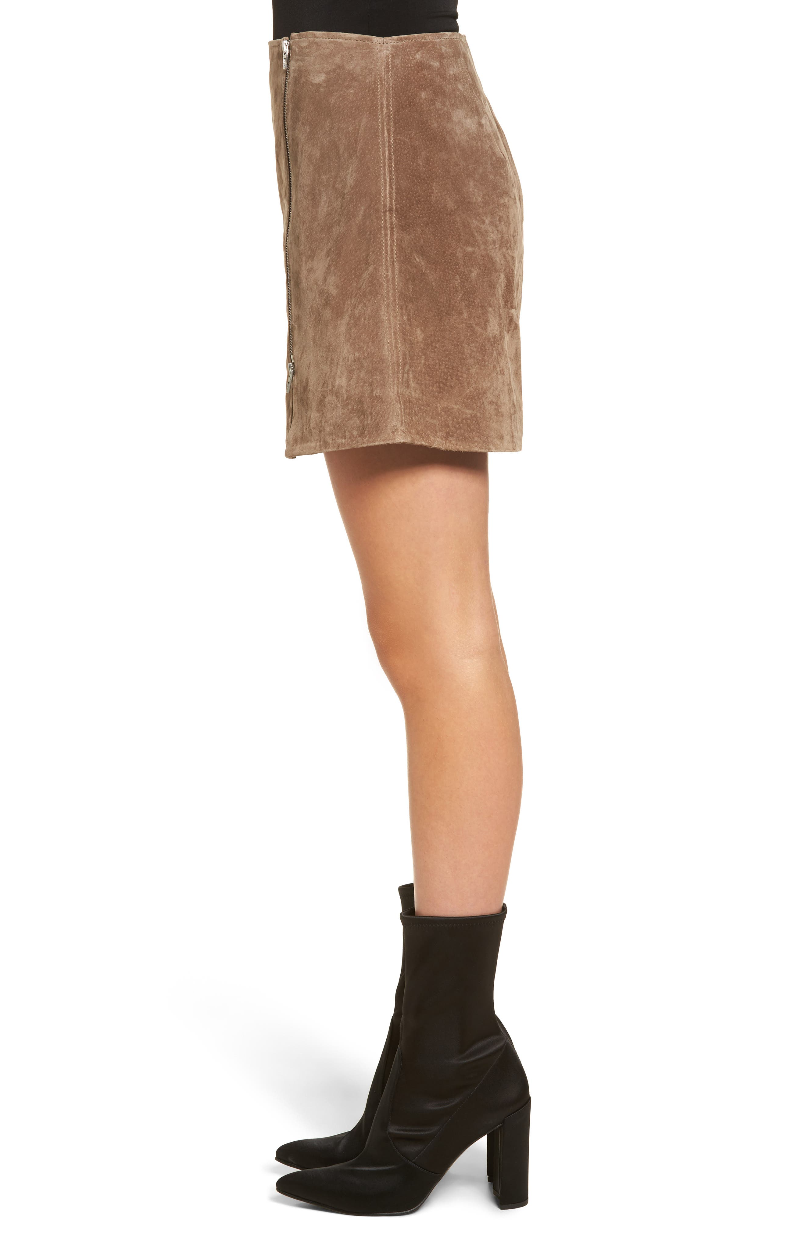 Suede Miniskirt,                             Alternate thumbnail 4, color,                             Midnight Toker