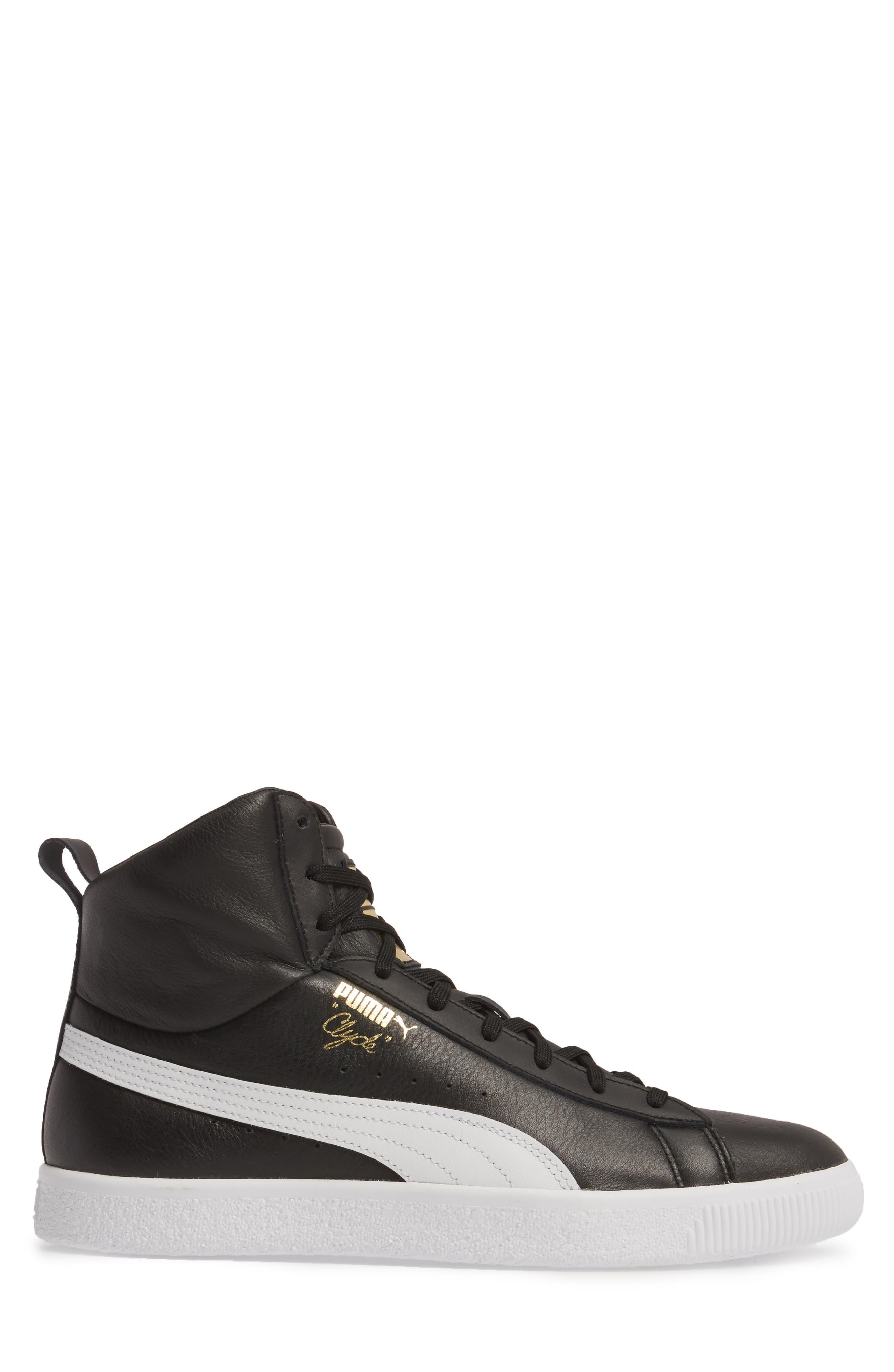 Clyde Mid Sneaker,                             Alternate thumbnail 3, color,                             Black/ White