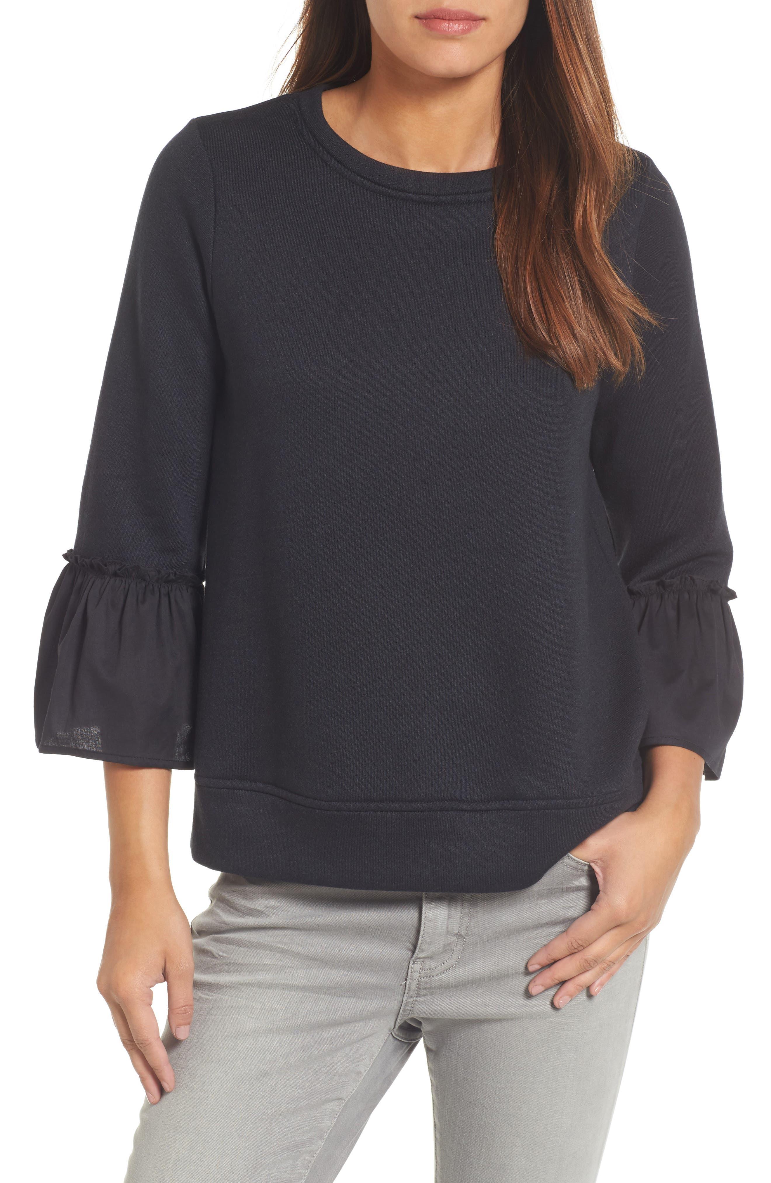 Gibson Ruffle Sleeve Stripe Sweatshirt