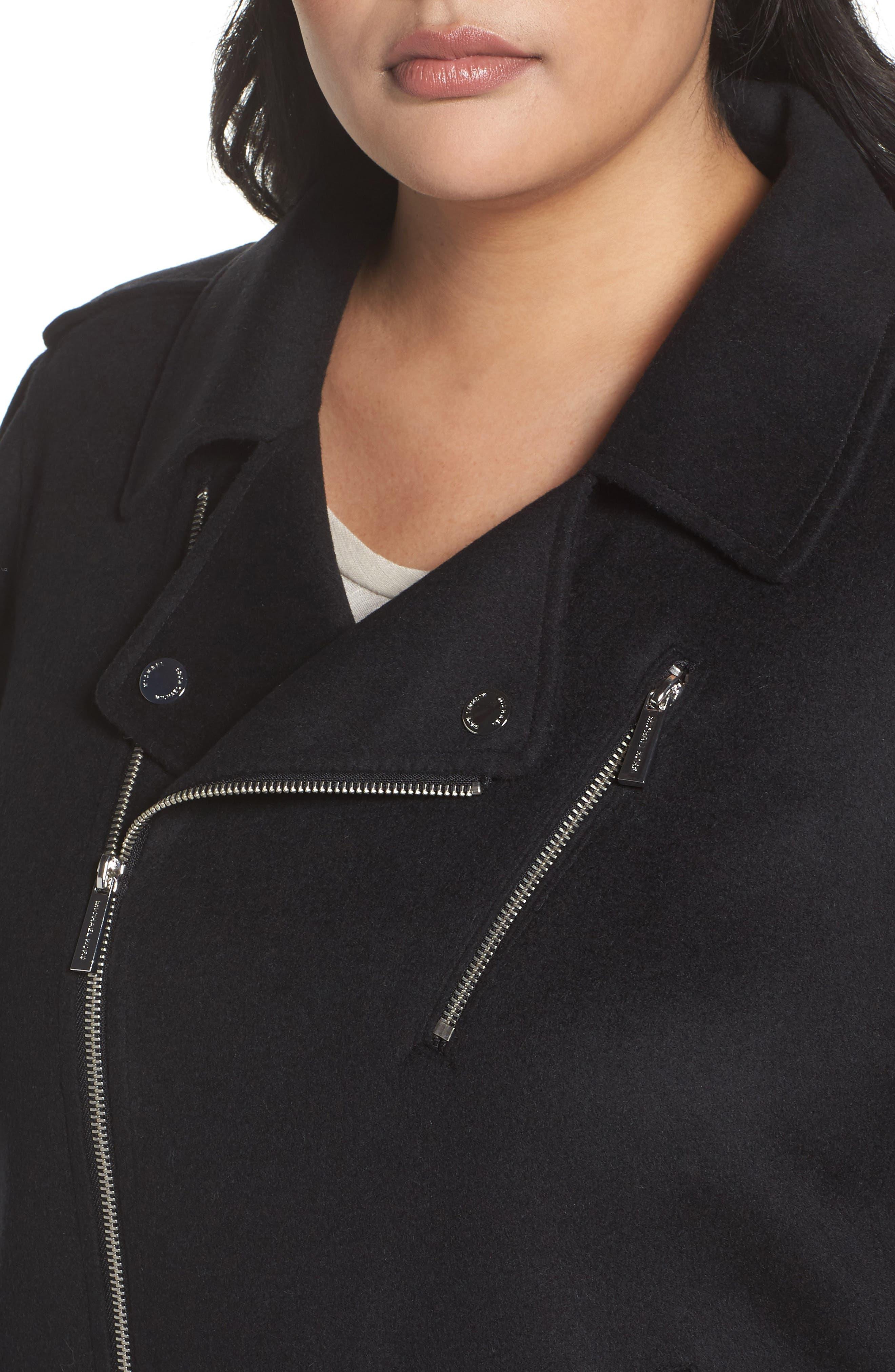 Wool Blend Moto Jacket,                             Alternate thumbnail 4, color,                             Black