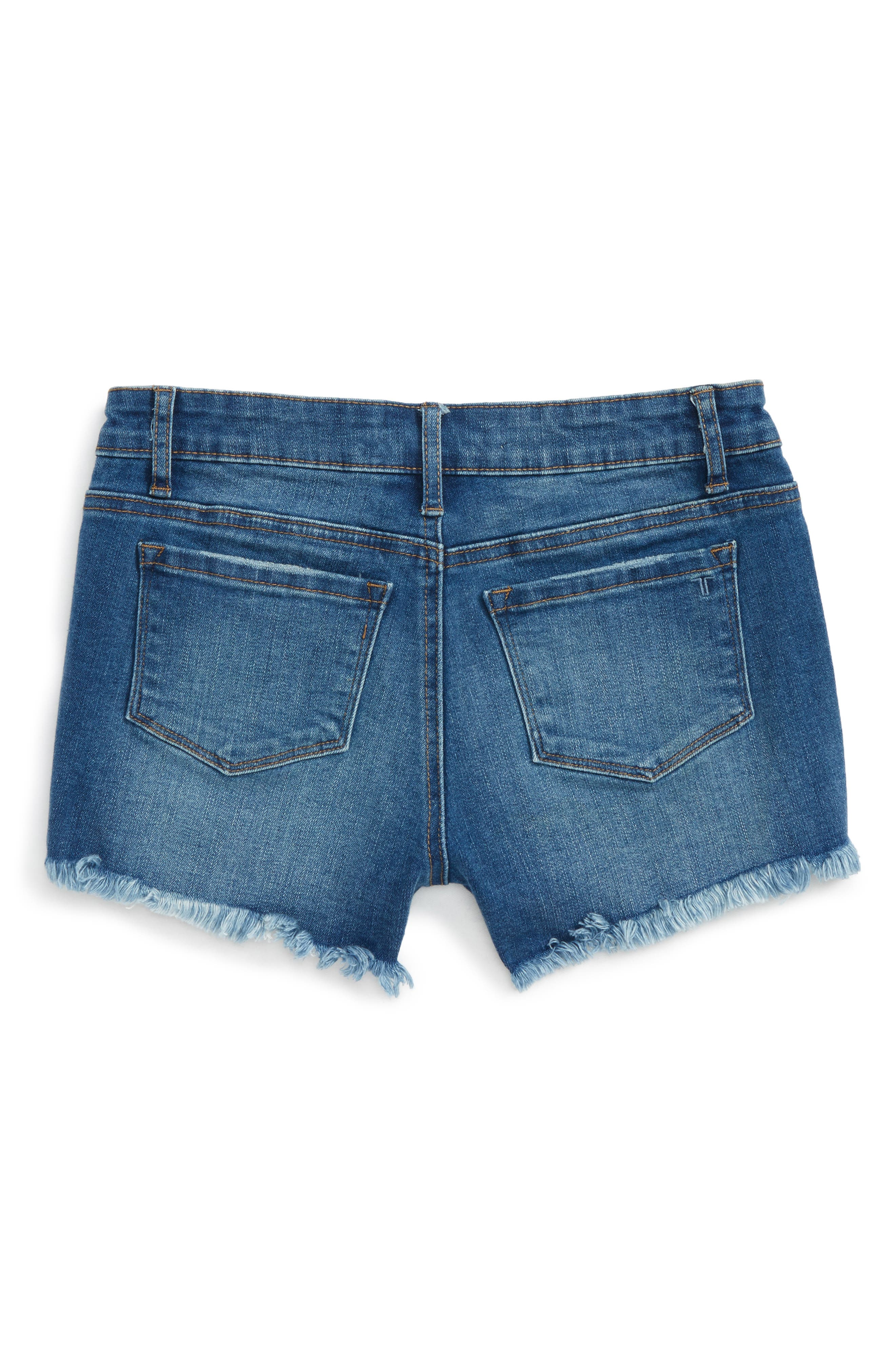 Distressed Cutoff Denim Shorts,                             Alternate thumbnail 2, color,                             Dark Indigo