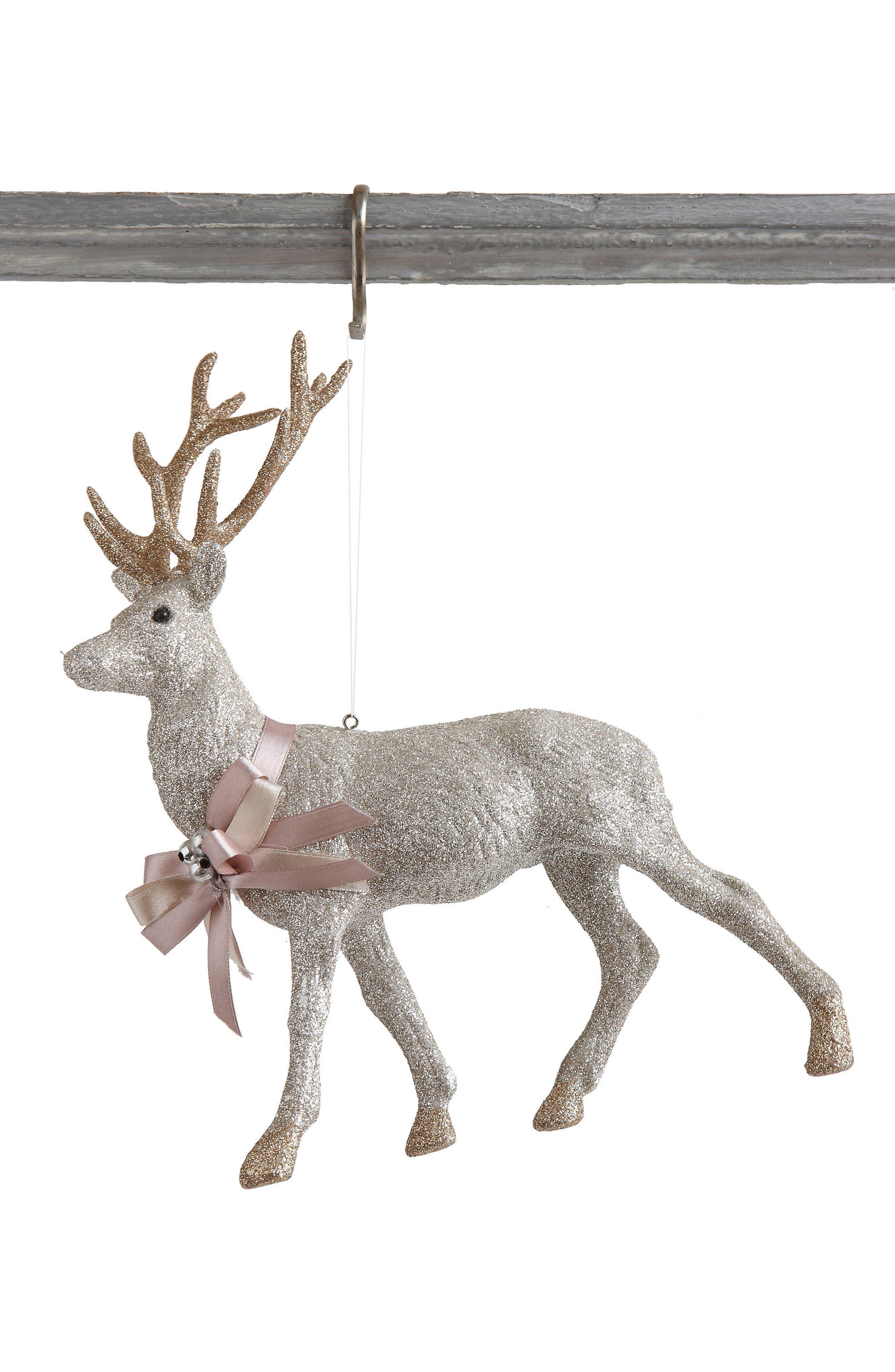 Glitter Deer Ornament,                         Main,                         color, Silver