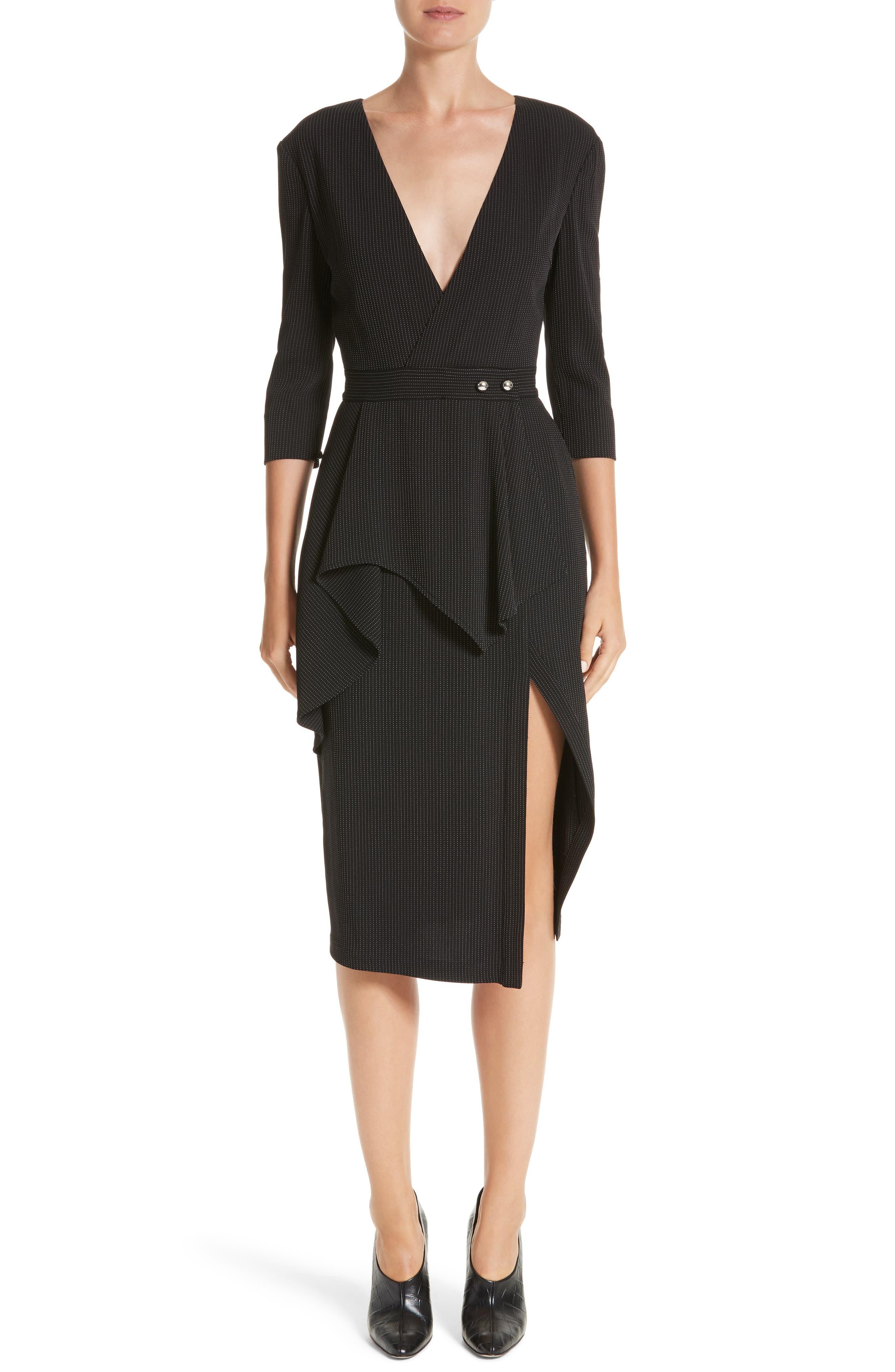 Pinstripe Jersey Sheath Dress,                             Main thumbnail 1, color,                             Black / Chalk