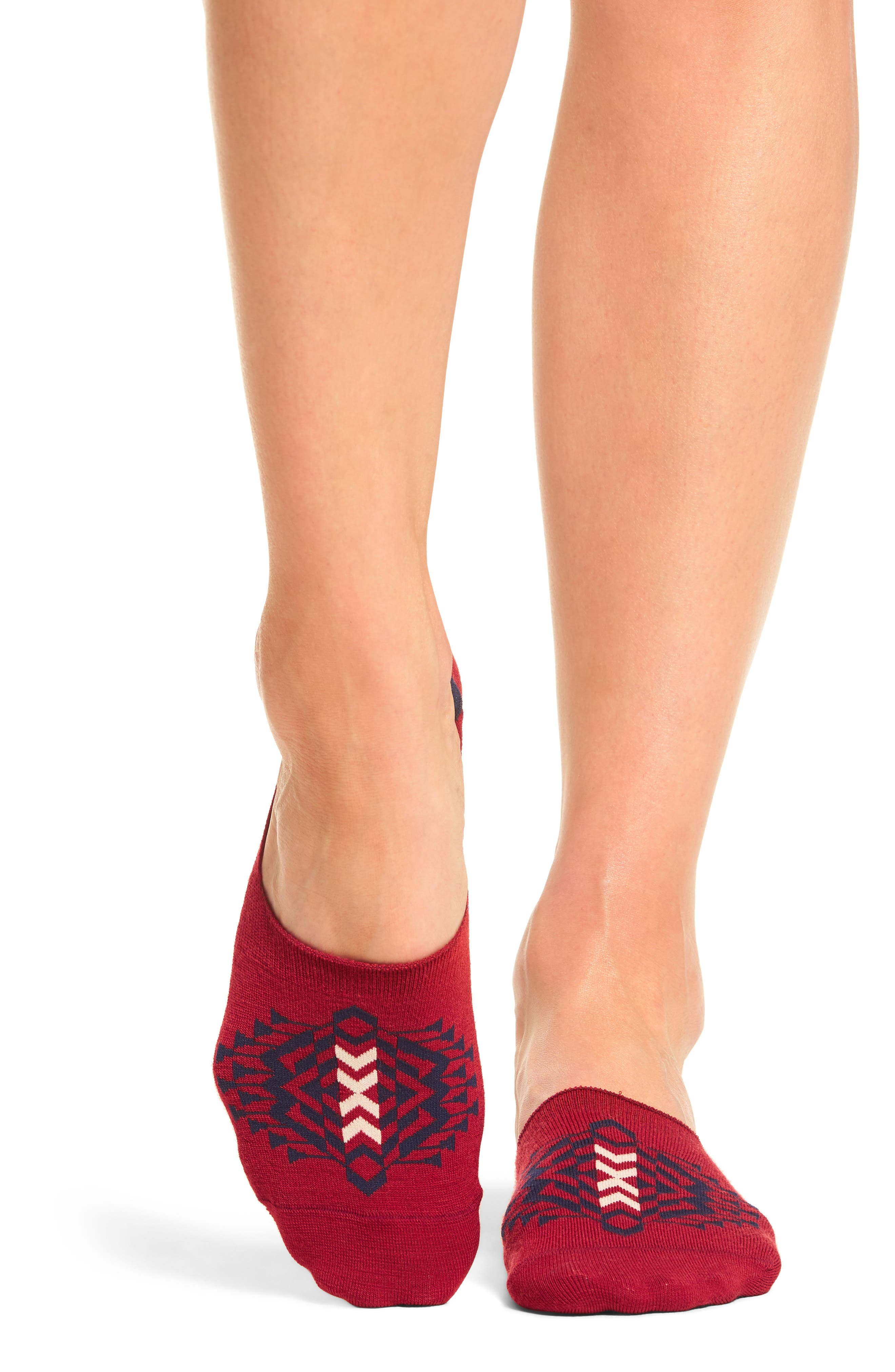 Tolovana No-Show Socks,                             Main thumbnail 1, color,                             Red