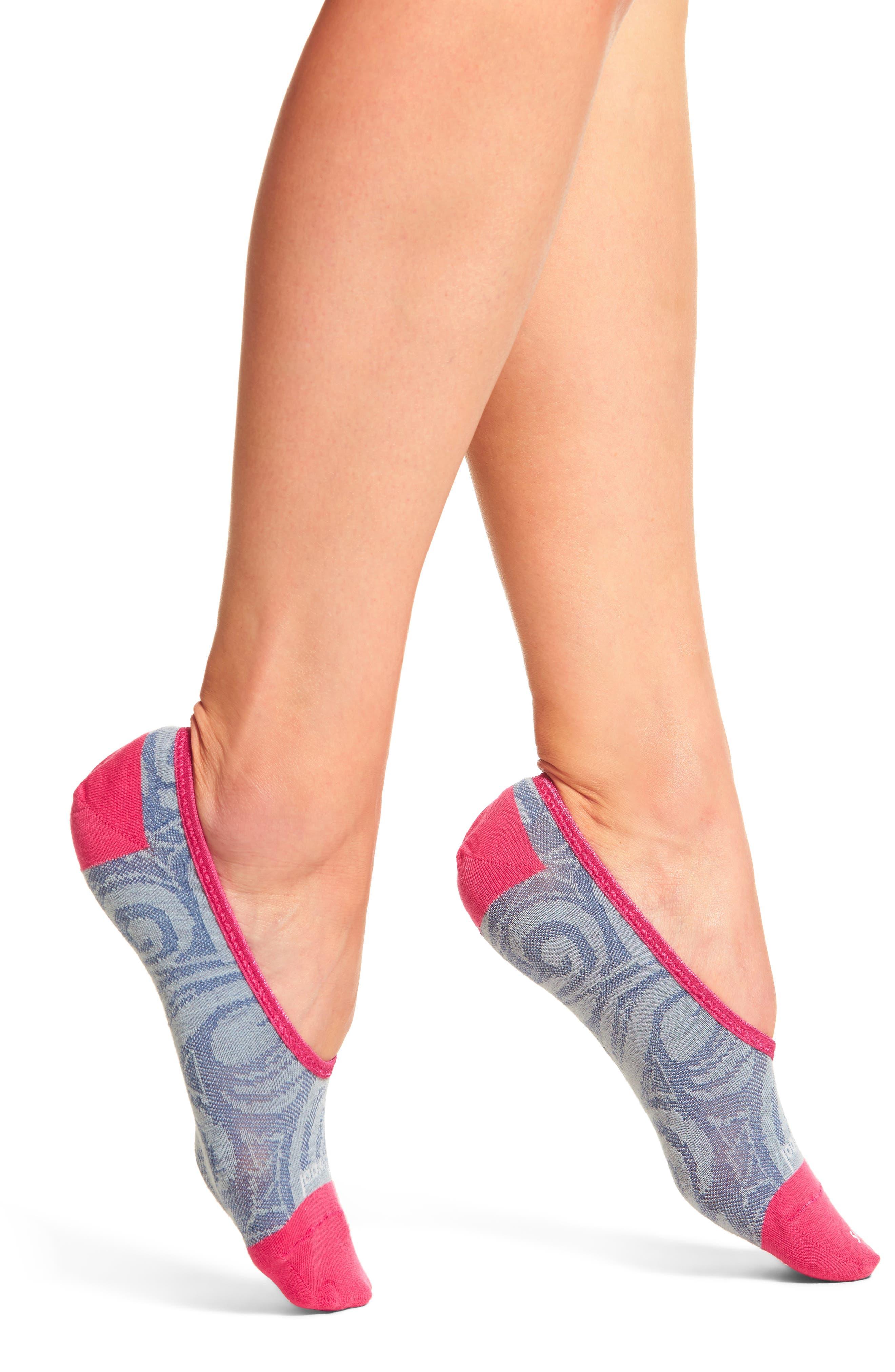 Sadie Swirl Hide & Seek No-Show Socks,                             Main thumbnail 1, color,                             Blue Ice Heather