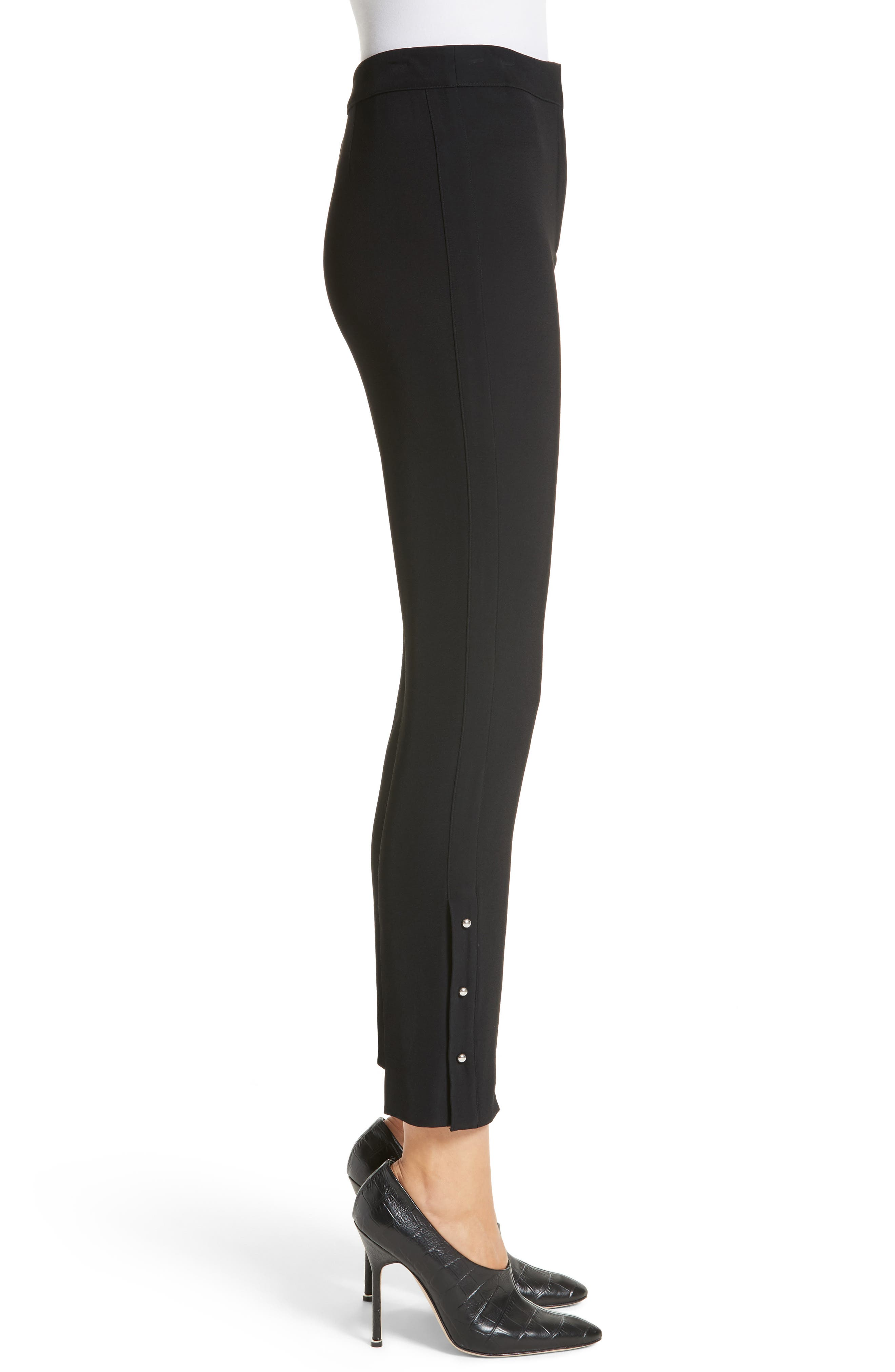 Stretch Twill Straight Leg Pants,                             Alternate thumbnail 3, color,                             Black
