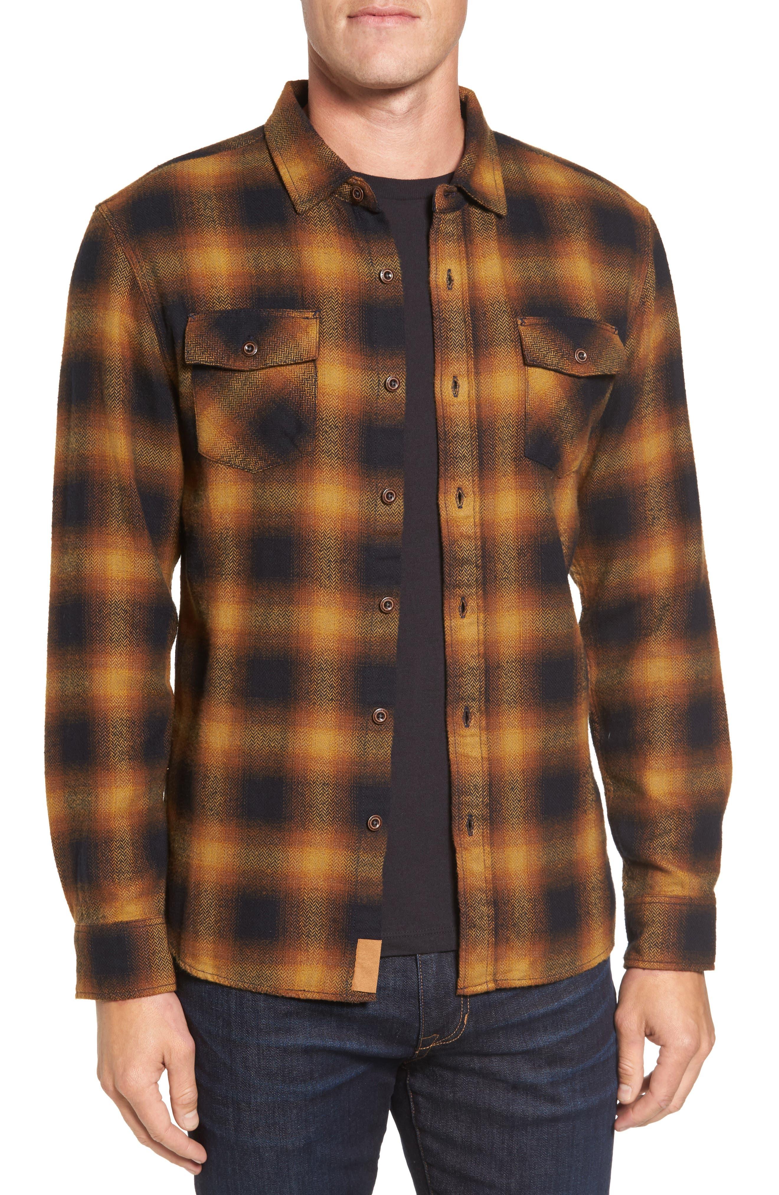 Truman Check Herringbone Shirt,                         Main,                         color, Yellow/ Brown