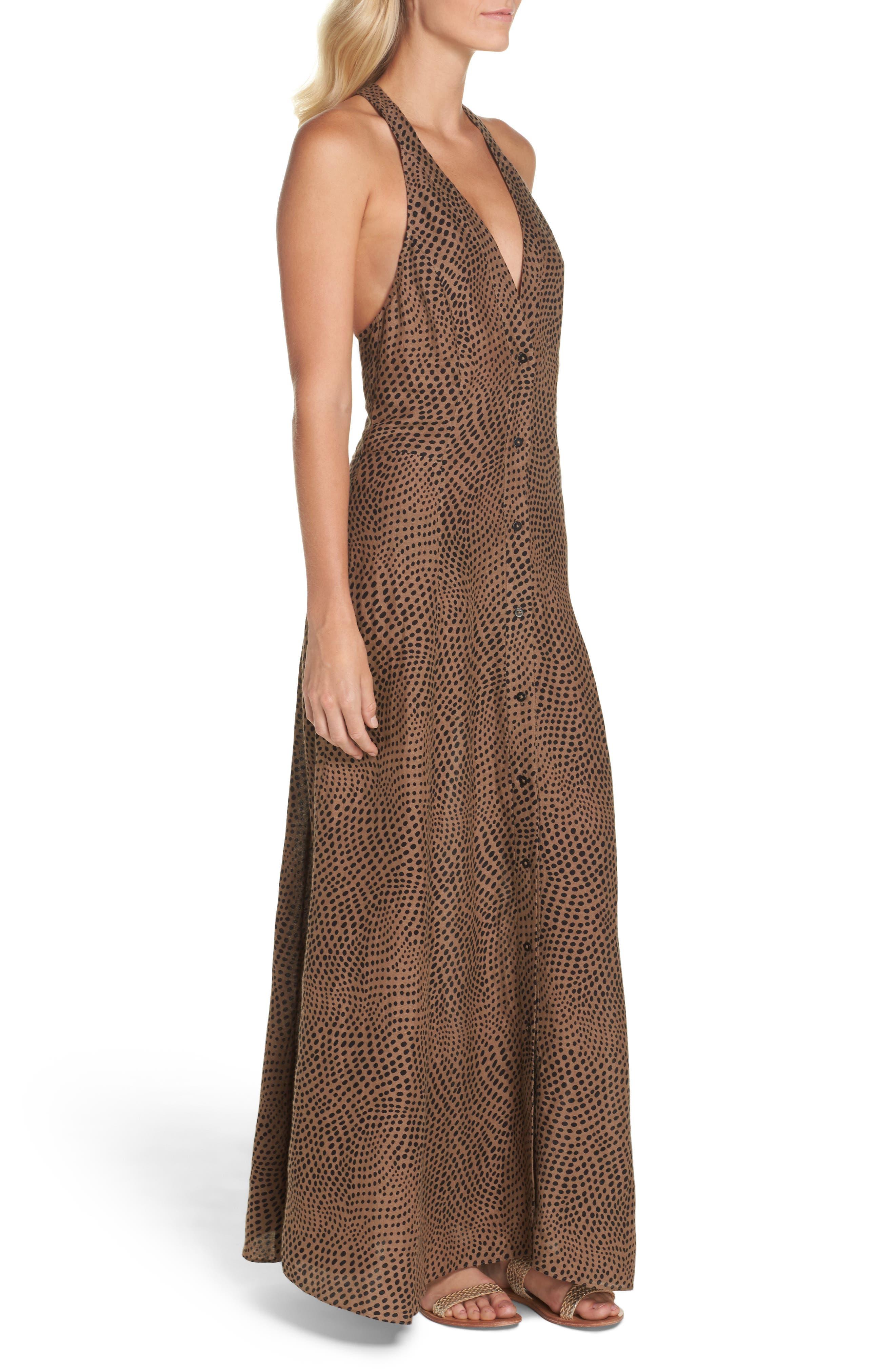 Sleeveless Cover-Up Dress,                             Alternate thumbnail 3, color,                             Easton Dot Clay