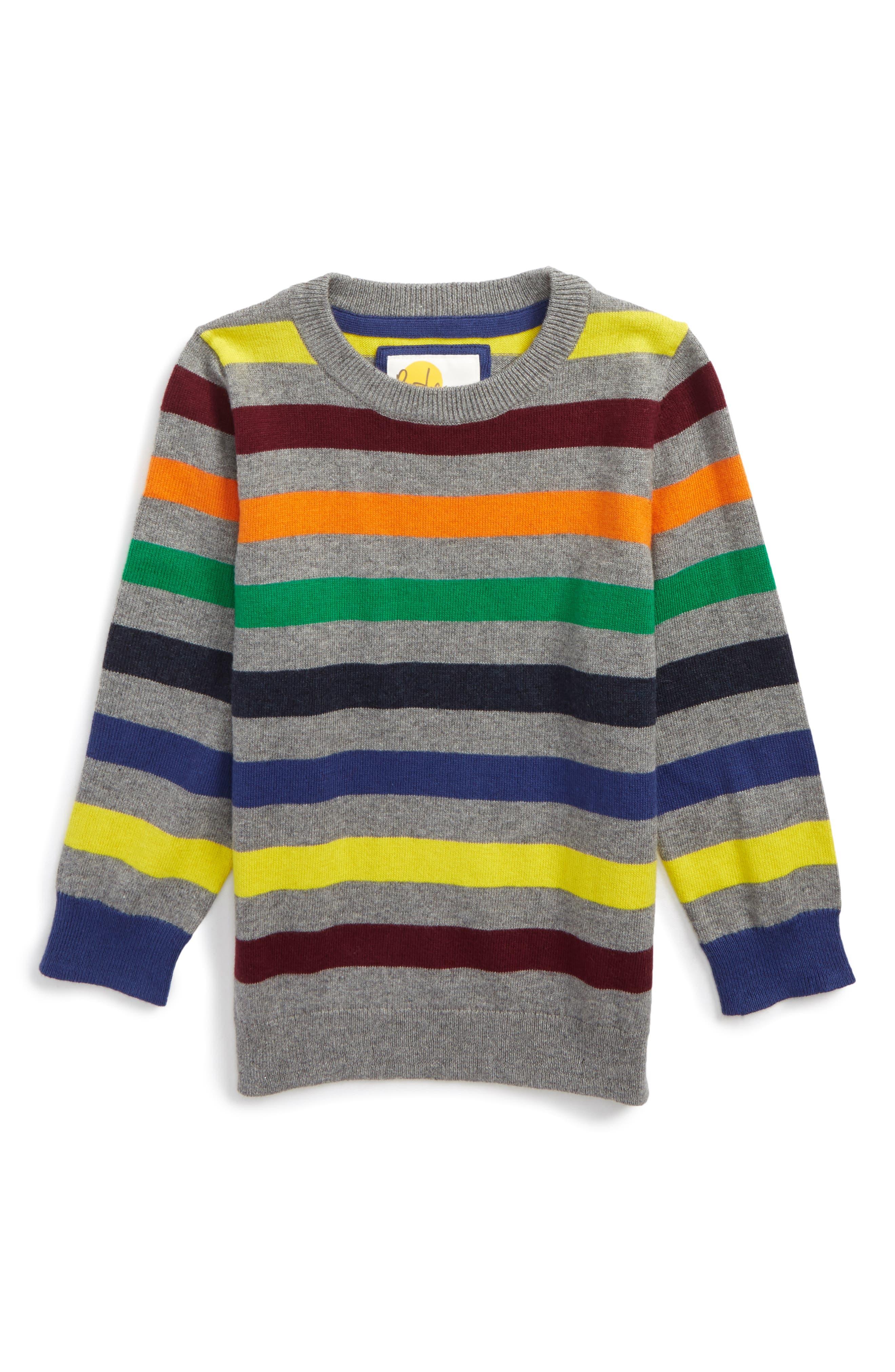 Alternate Image 1 Selected - Mini Boden Stripe Sweater (Toddler Boys, Little Boys & Big Boys)
