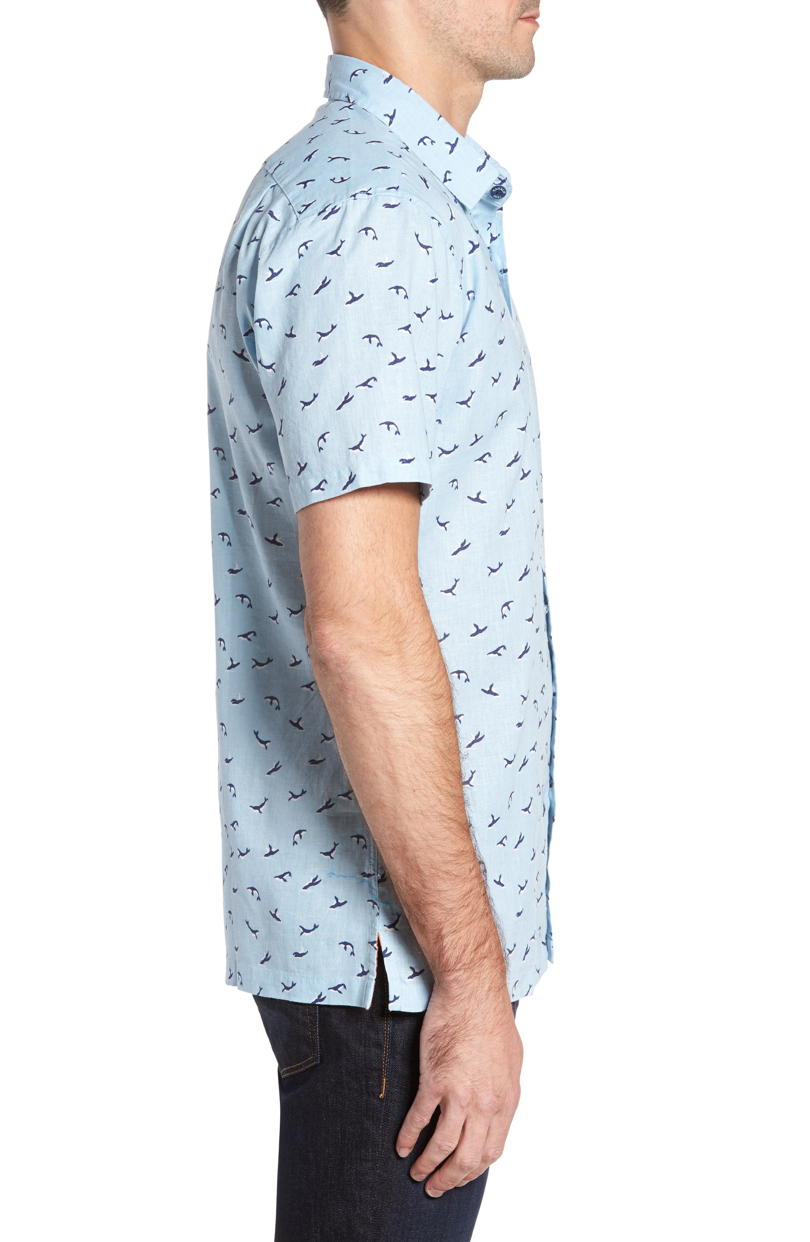 Winter Holiday Trim Fit Print Linen & Cotton Sport Shirt,                             Alternate thumbnail 3, color,                             Shore