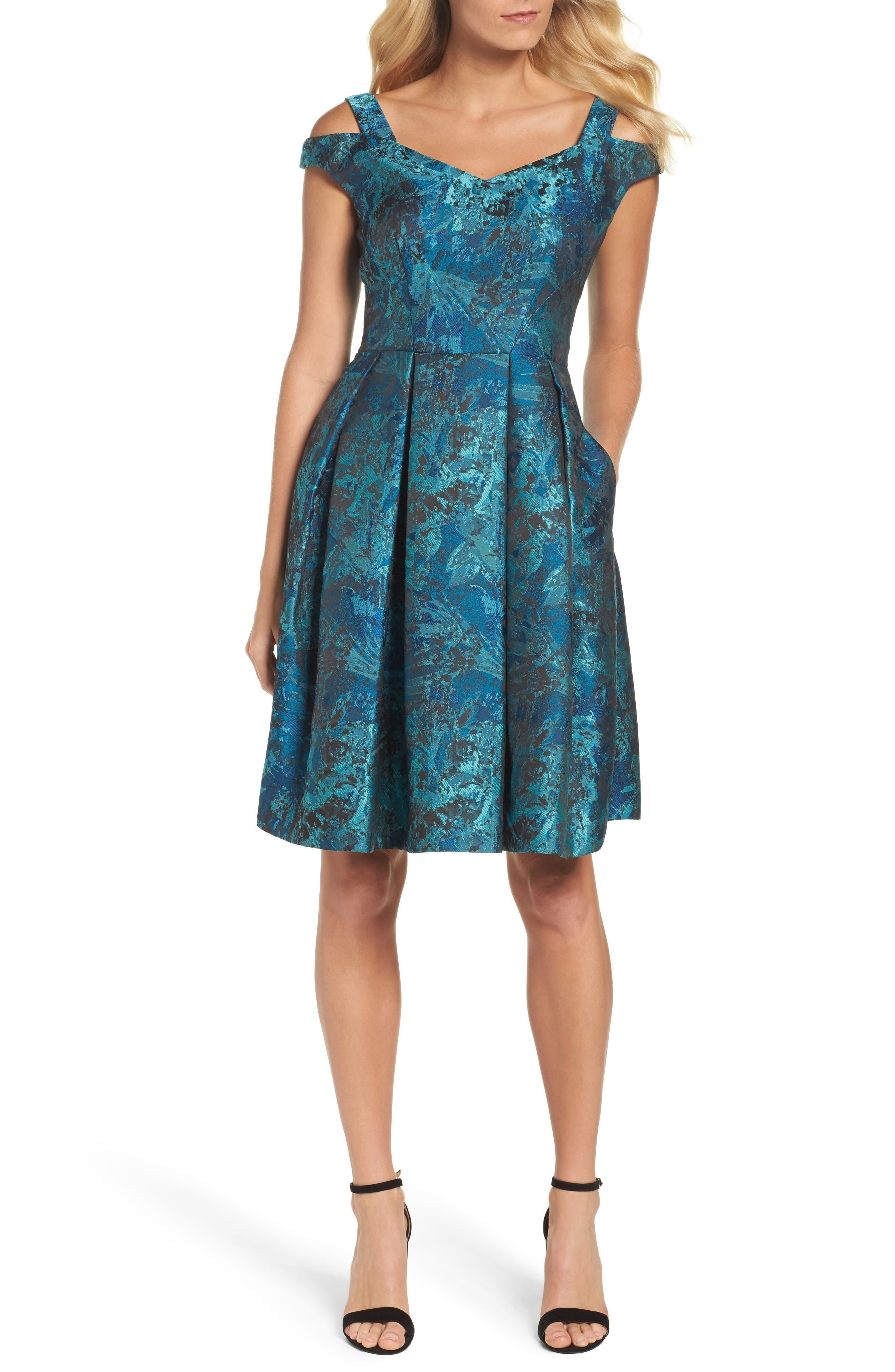 Cold Shoulder Brocade Dress,                         Main,                         color, Black/ Emerald