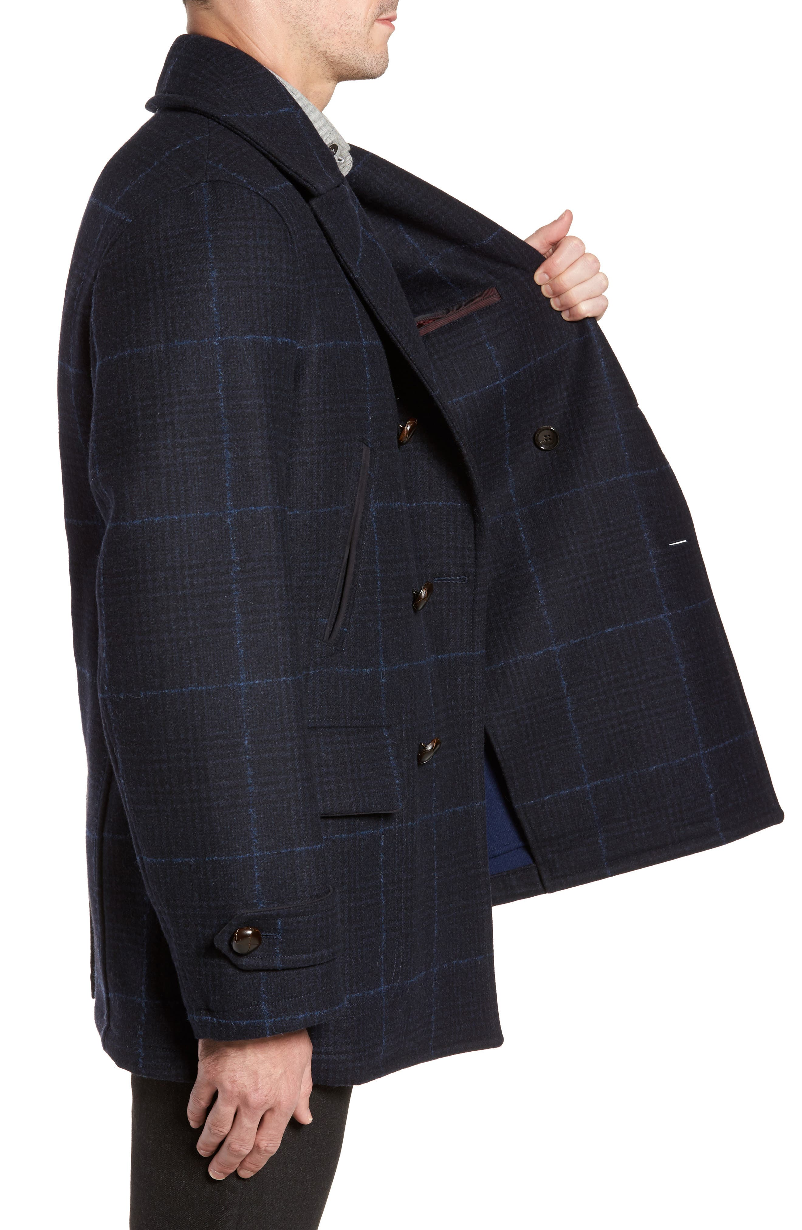 Wool Plaid Peacoat,                             Alternate thumbnail 3, color,                             Navy