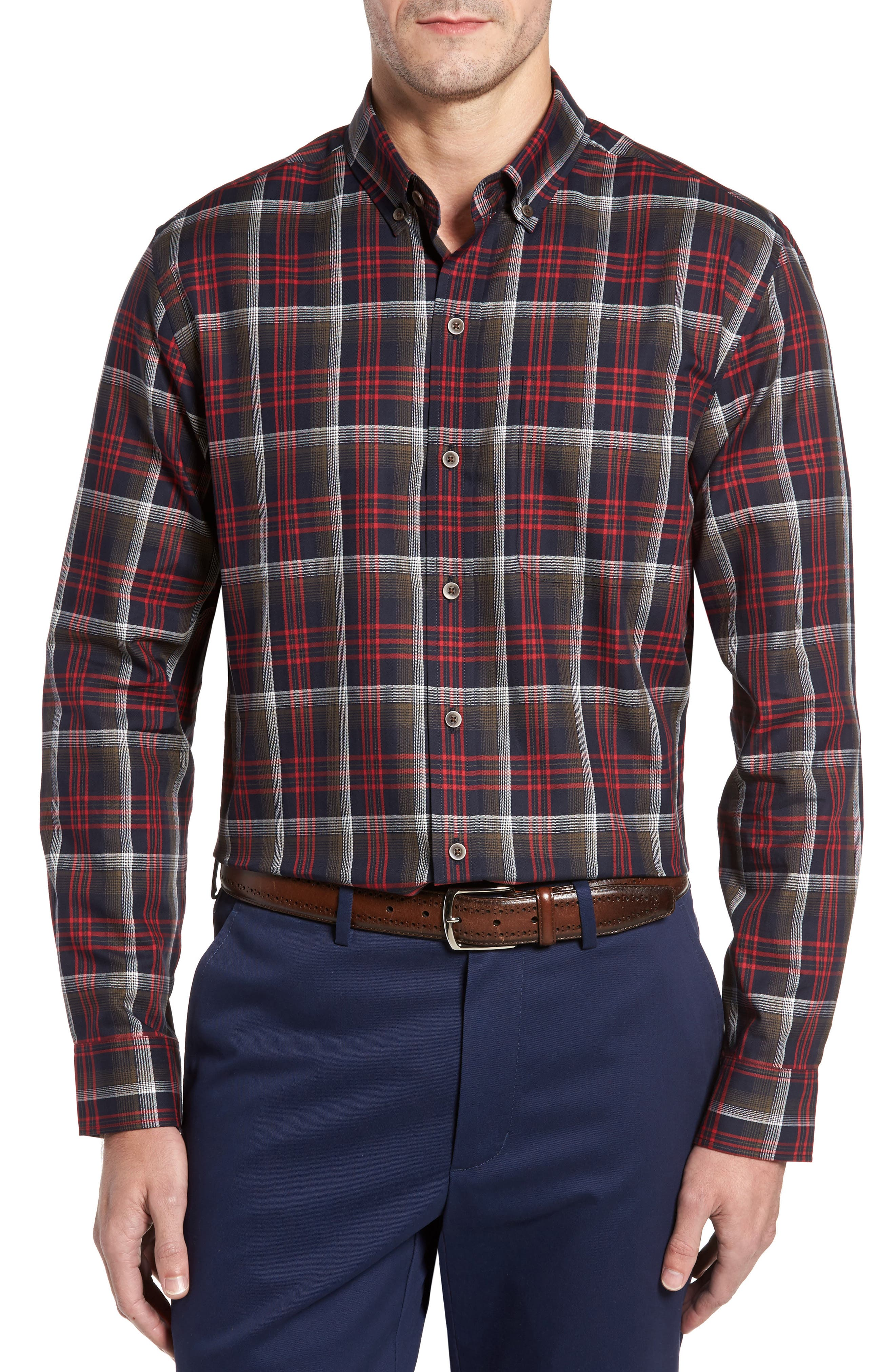 Dry Creek Non-Iron Plaid Sport Shirt,                         Main,                         color, Sedona