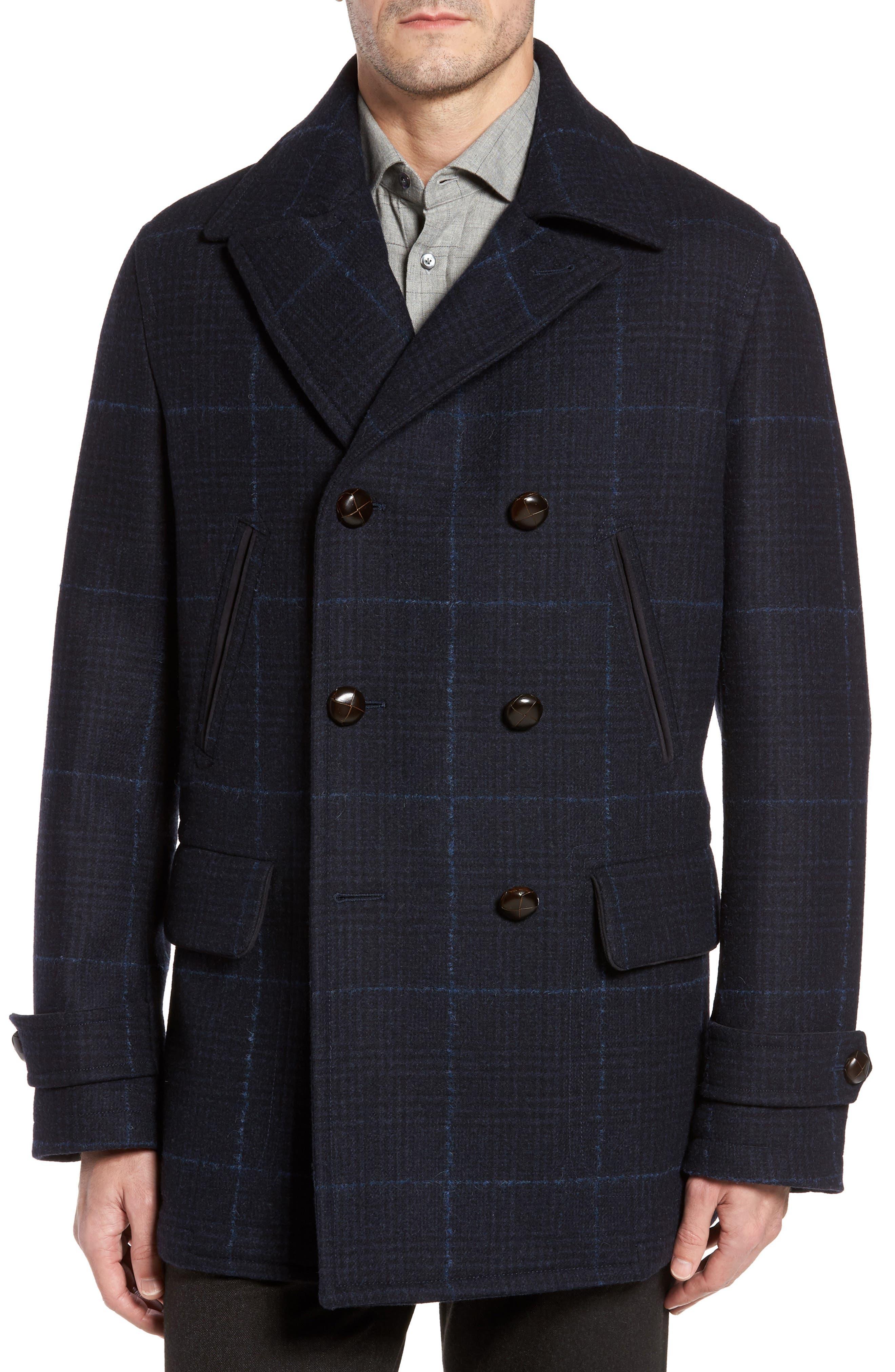 Alternate Image 1 Selected - Luciano Barbera Wool Plaid Peacoat