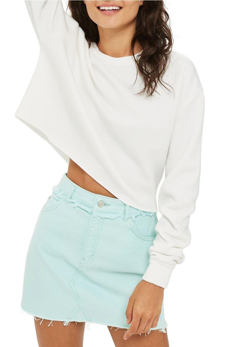Crop Sweatshirt, Main, color, White